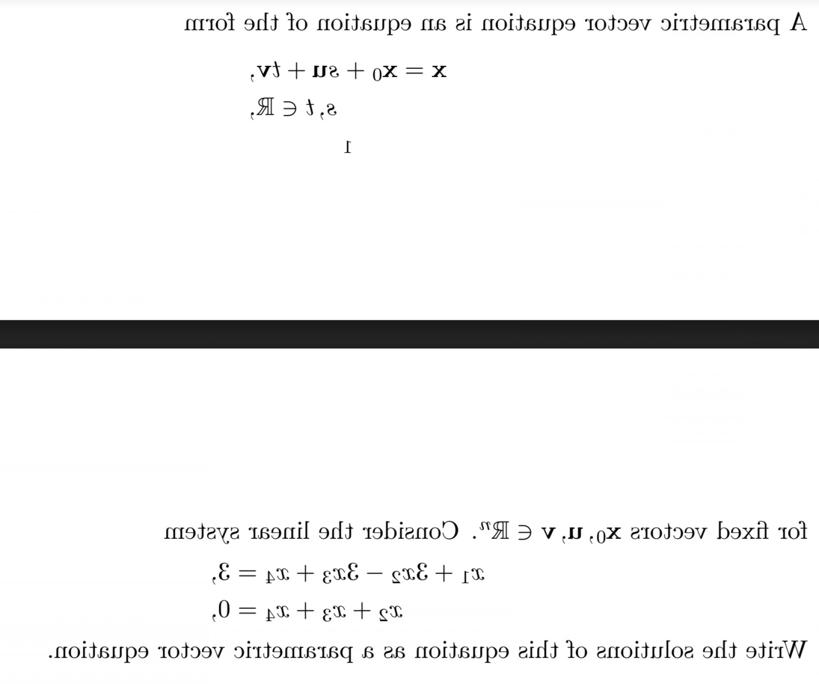 A Line Of Vector Equation R: Write The Solutions Of This Equation As A Parametric Vector Equation