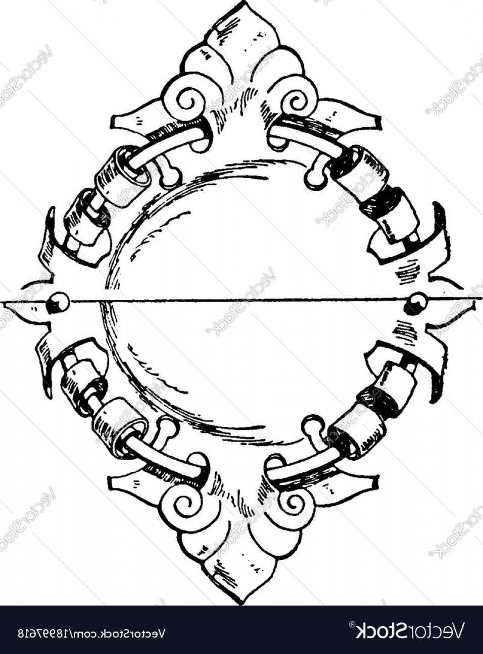 Wrought Iron Vector For CNC: Wrought Iron Signs Strap Work Tablet Was Used In Vector