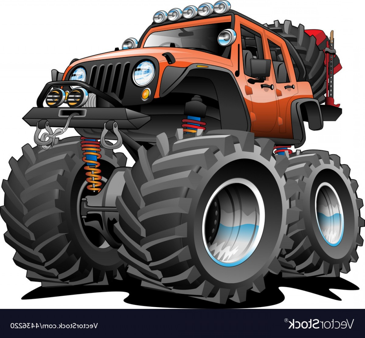 Jeep Off-Road Vector Art: X Off Road Vehicle Cartoon Vector