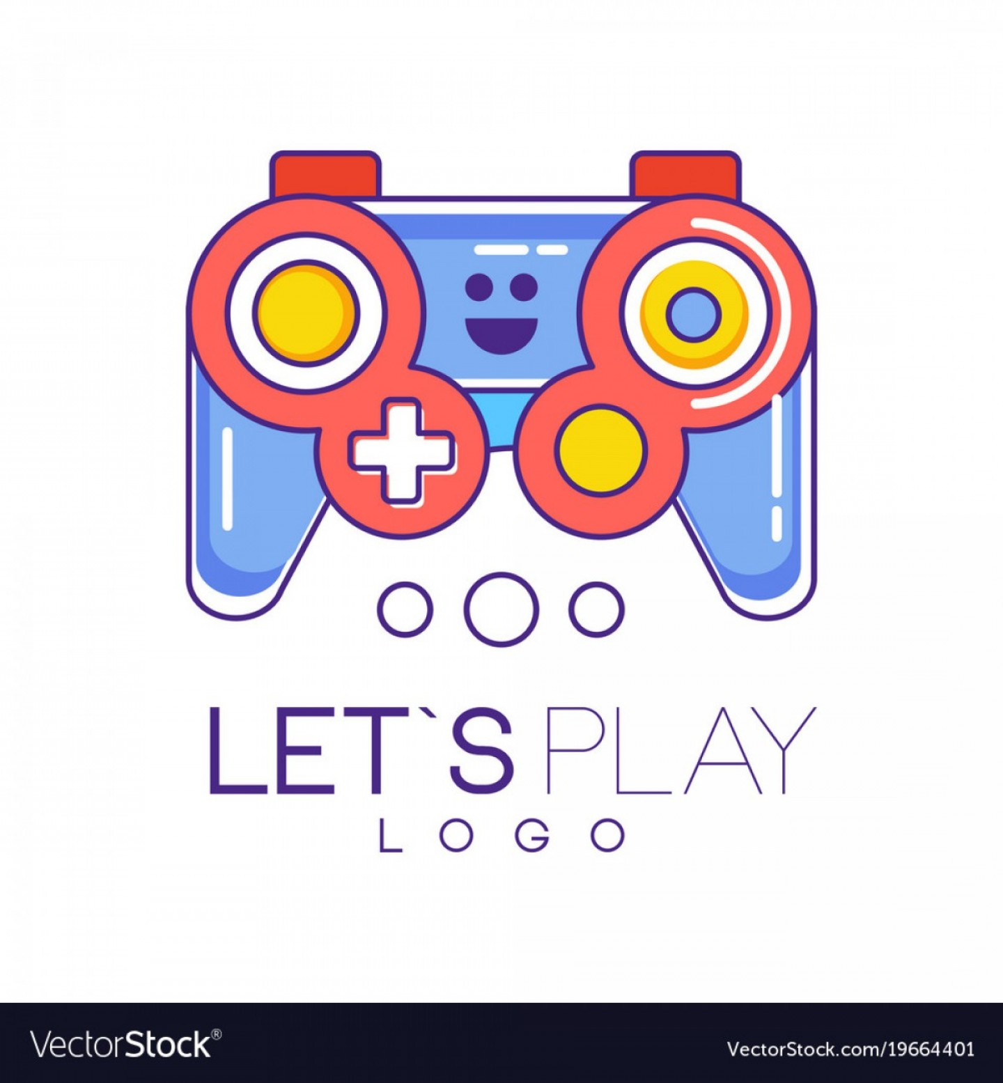 Xbox Game Controller Vector: Xbox Gamepad Logo Design In Line Style With Red Vector