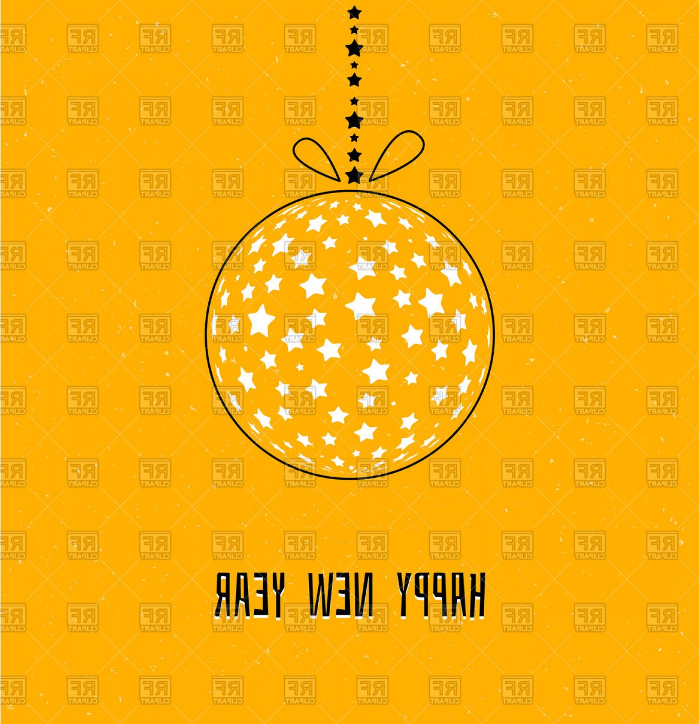 Stars Yellow Christmas Vector: Xmas Ball With Stars On Yellow New Year Background Vector Clipart