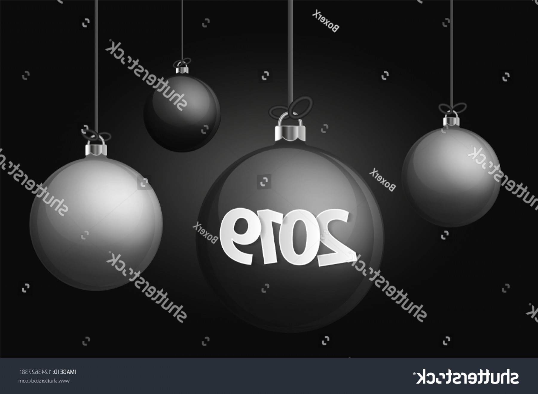 Vector-Based Grayscale Christmas: Xmas New Year Concept Realistic