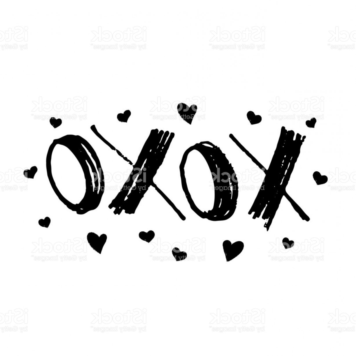 Vector Artist Marker: Xoxo Hugs And Kisses Cards For Valentines Day Hand Drawn Marker Lettering With Gm