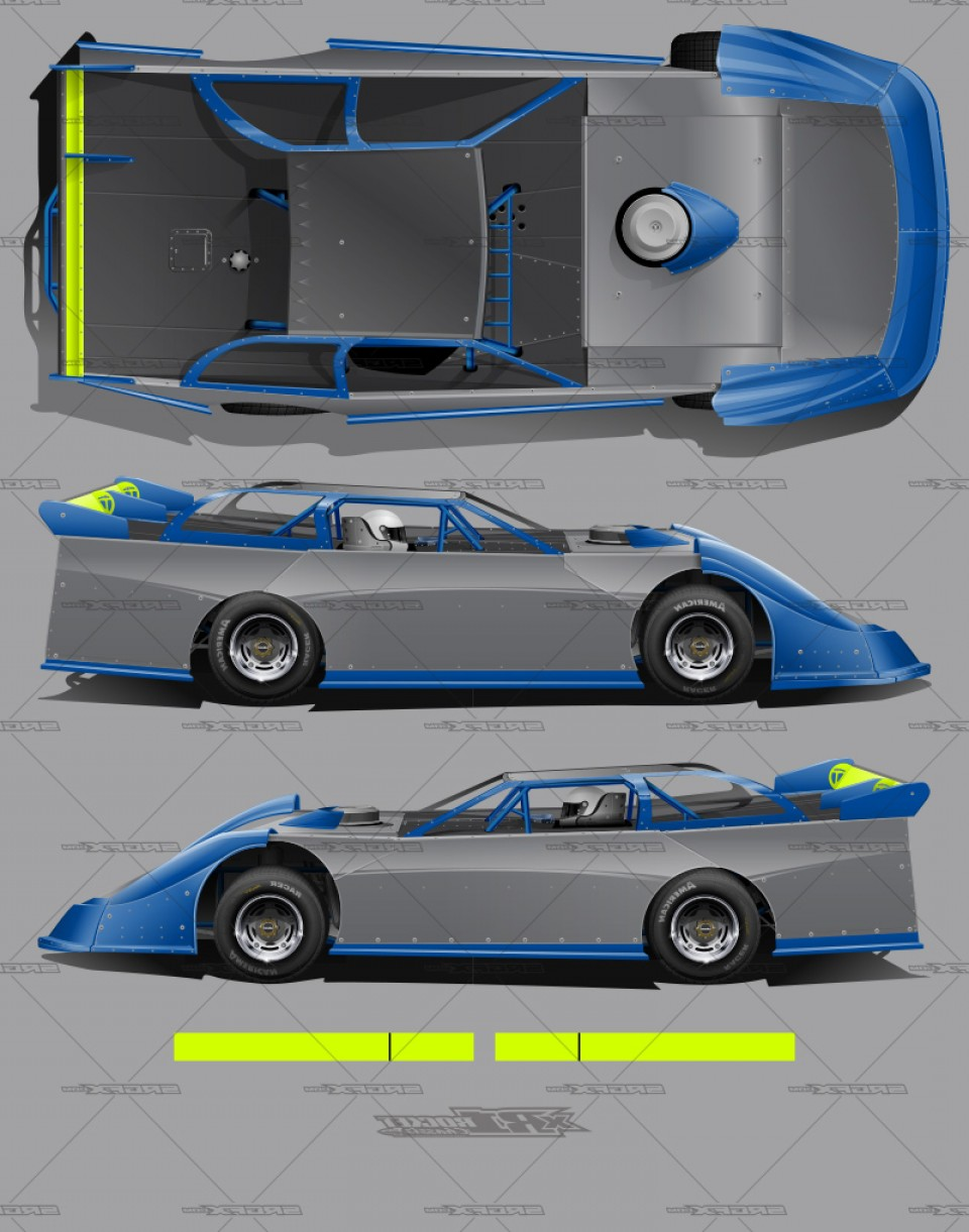 Late Model Race Car Vector Art: Xr Rocket Chassis Dirt Late Model Template