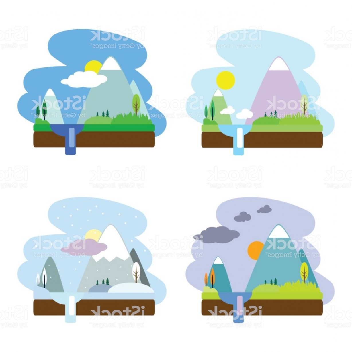 River Vector Art: Year Seasons Flat Vector Landscape With Mountain And River Gm