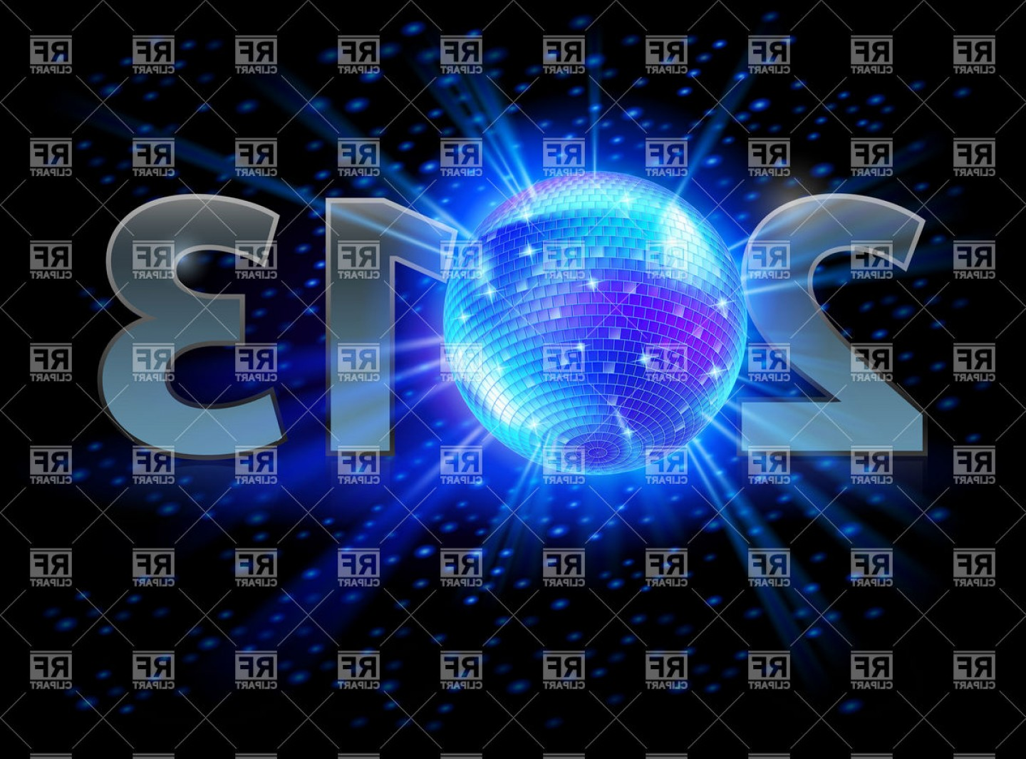 Vector Graphics 2013: Year With Disco Ball Vector Clipart