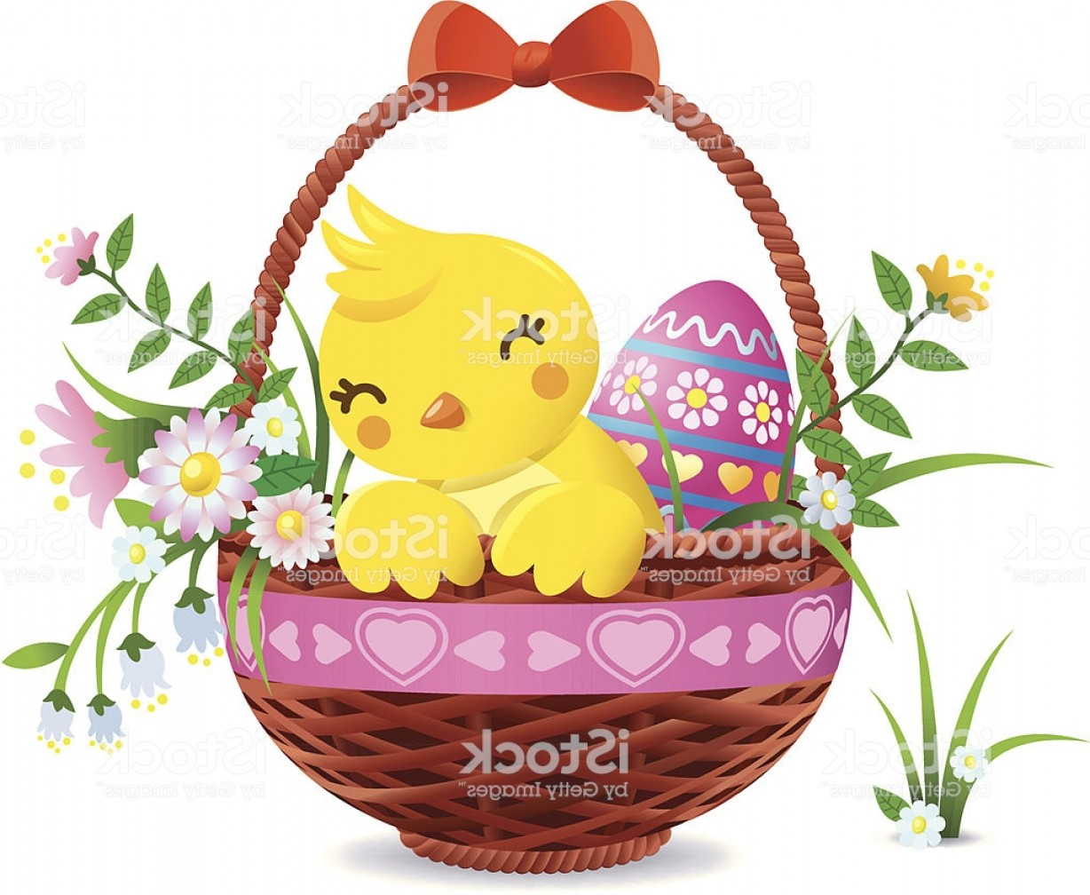 Vector Easter Egg Basket: Yellow Chick In A Basket With Easter Eggs Gm