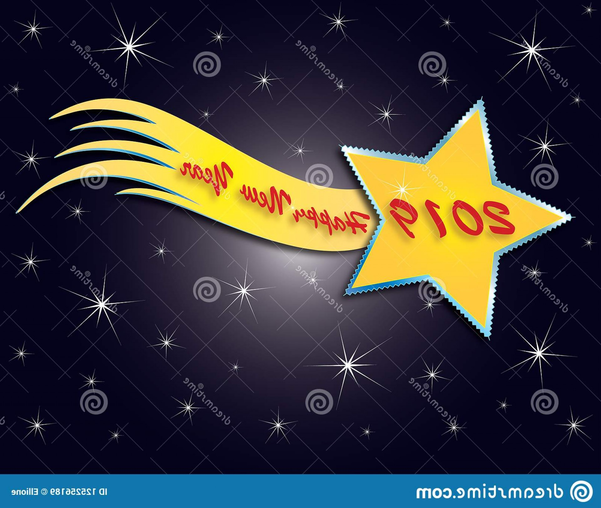 Stars Yellow Christmas Vector: Yellow Christmas Comet Night Sky Stars Background Happy New Years Vector Format Image