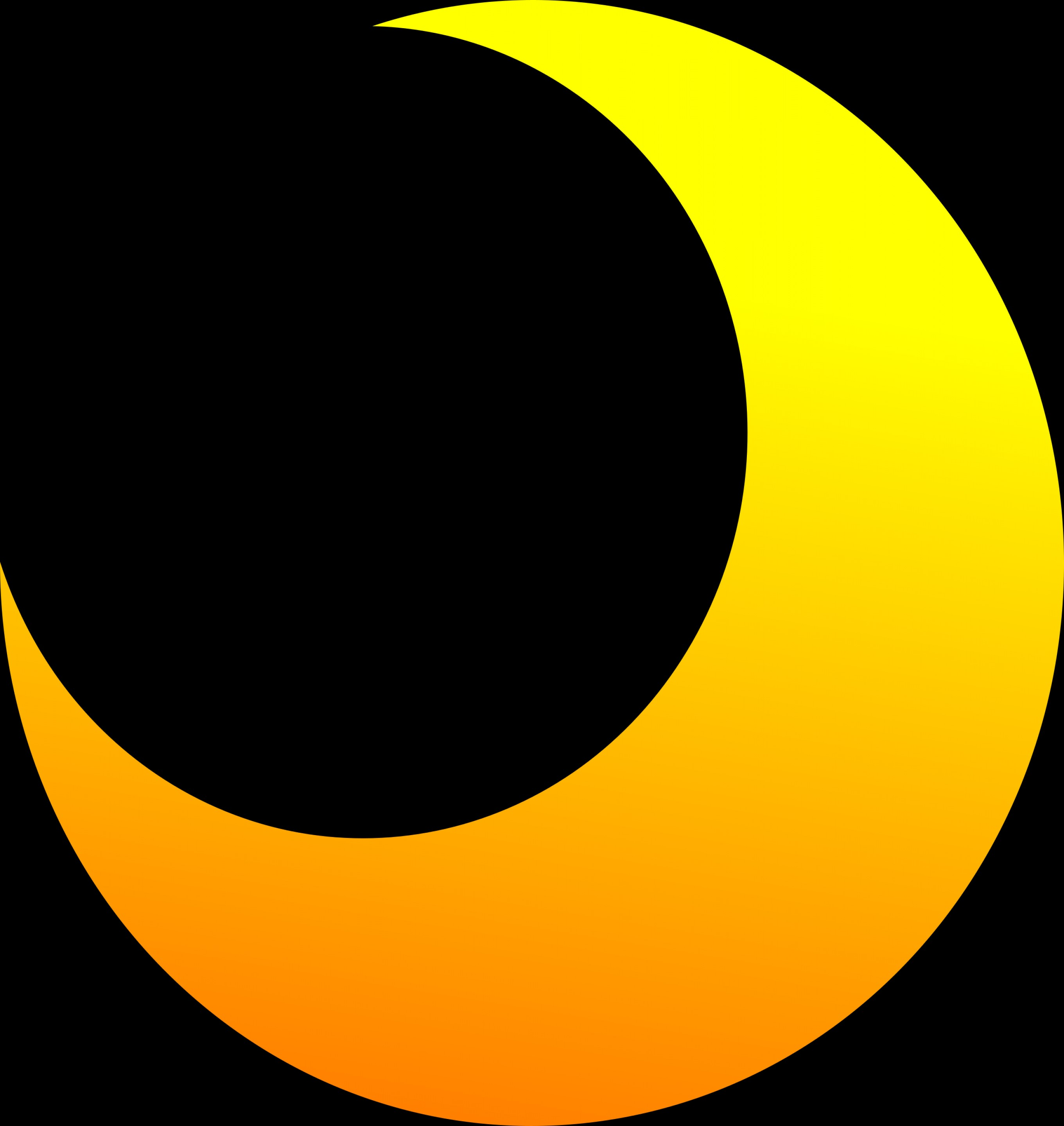 Cresent Moon Vector: Yellow Crescent Half Moon Vector Clipart