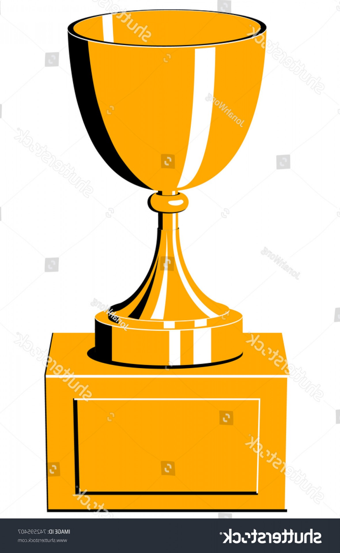 Gold Trophy Vector: Yellow Gold Trophy Vector Icon