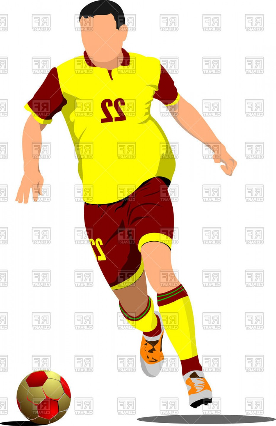 Free Football Vector Clip Art: Yellow Red Silhouette Of Soccer Player With Football Ball Vector Clipart