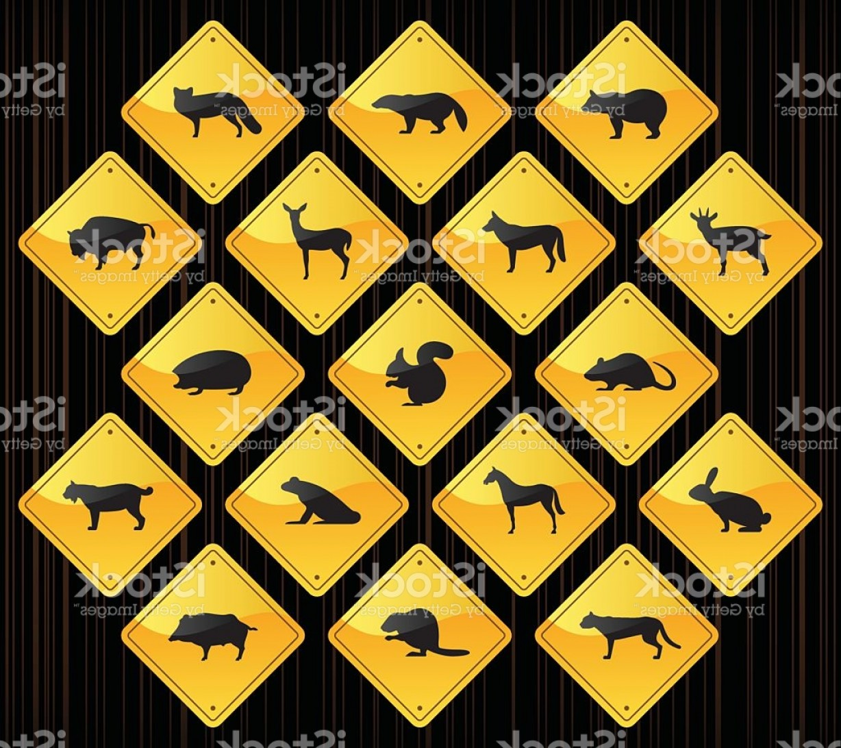 Road Sign Silhouette Vector Bear: Yellow Road Signs Wild Animals Gm