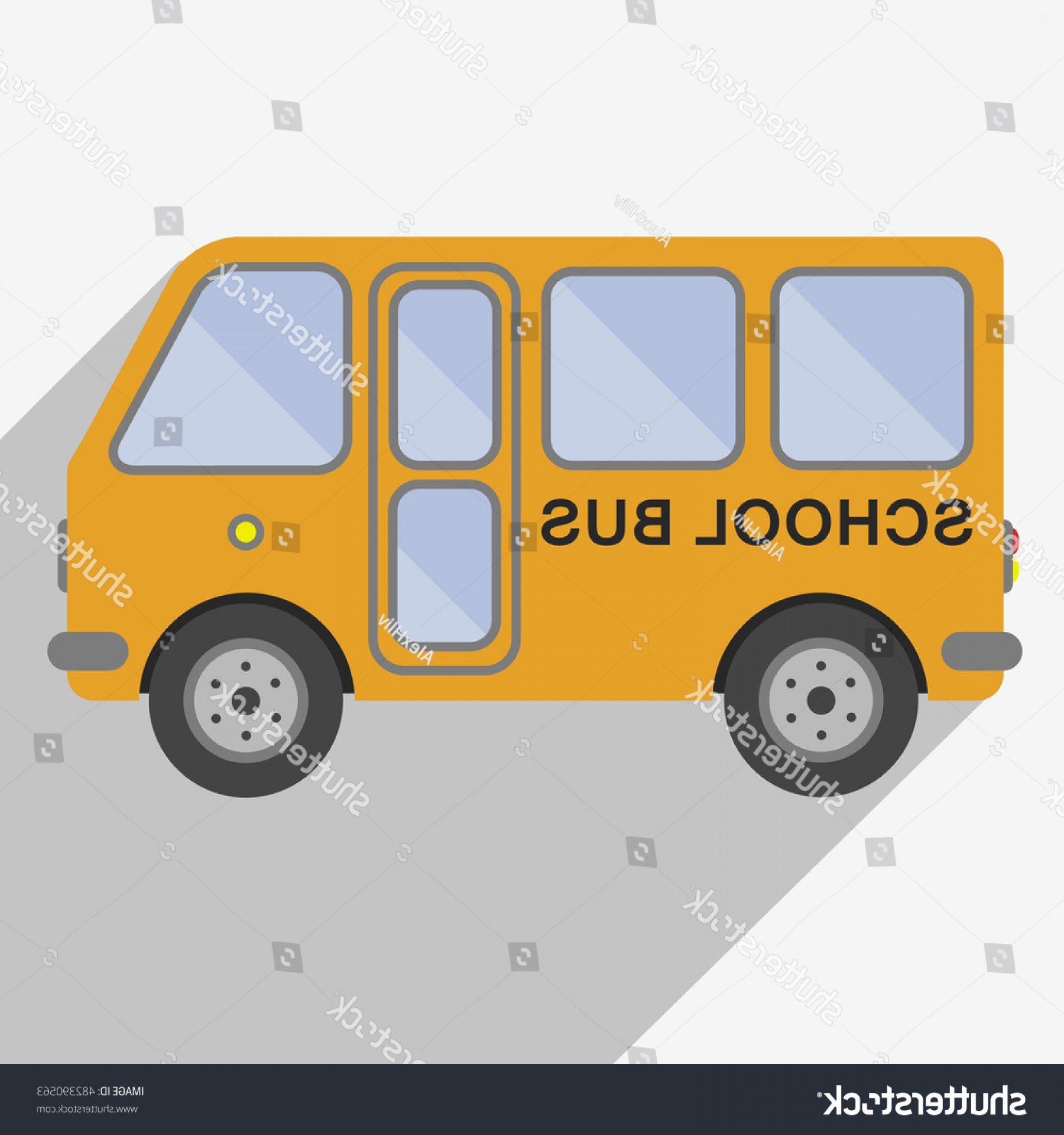 Public Bus Icon Vector: Yellow School Bus Sign Icon Isolated