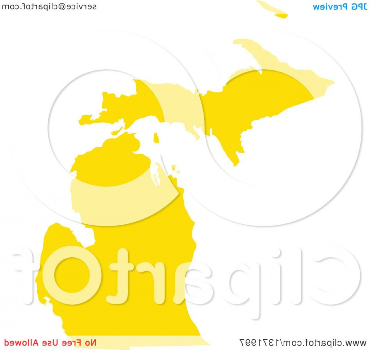 Michigan Vector Artwork: Yellow Silhouetted Map Shape Of The State Of Michigan United States
