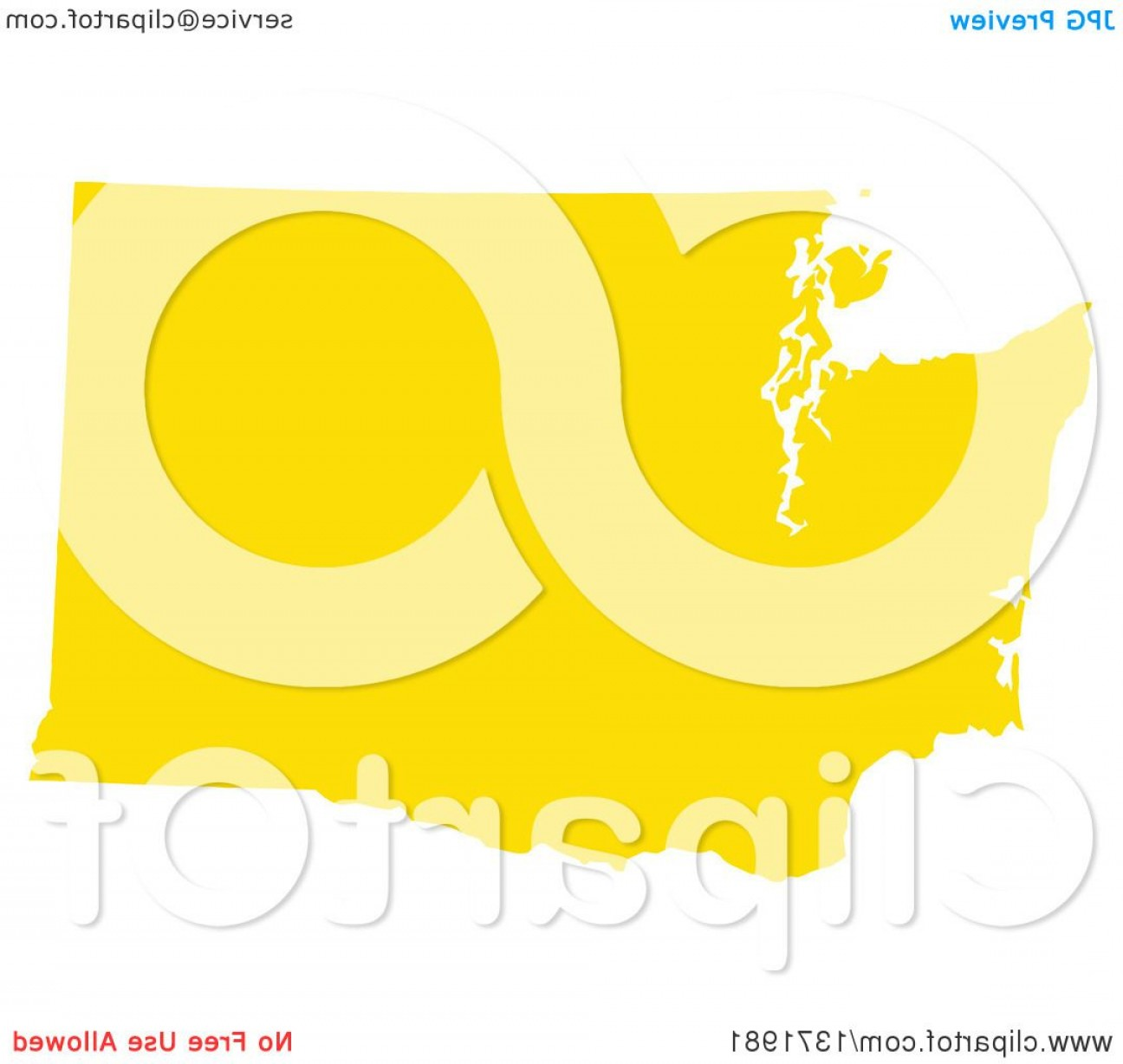 Washington State Map Vector: Yellow Silhouetted Map Shape Of The State Of Washington United States