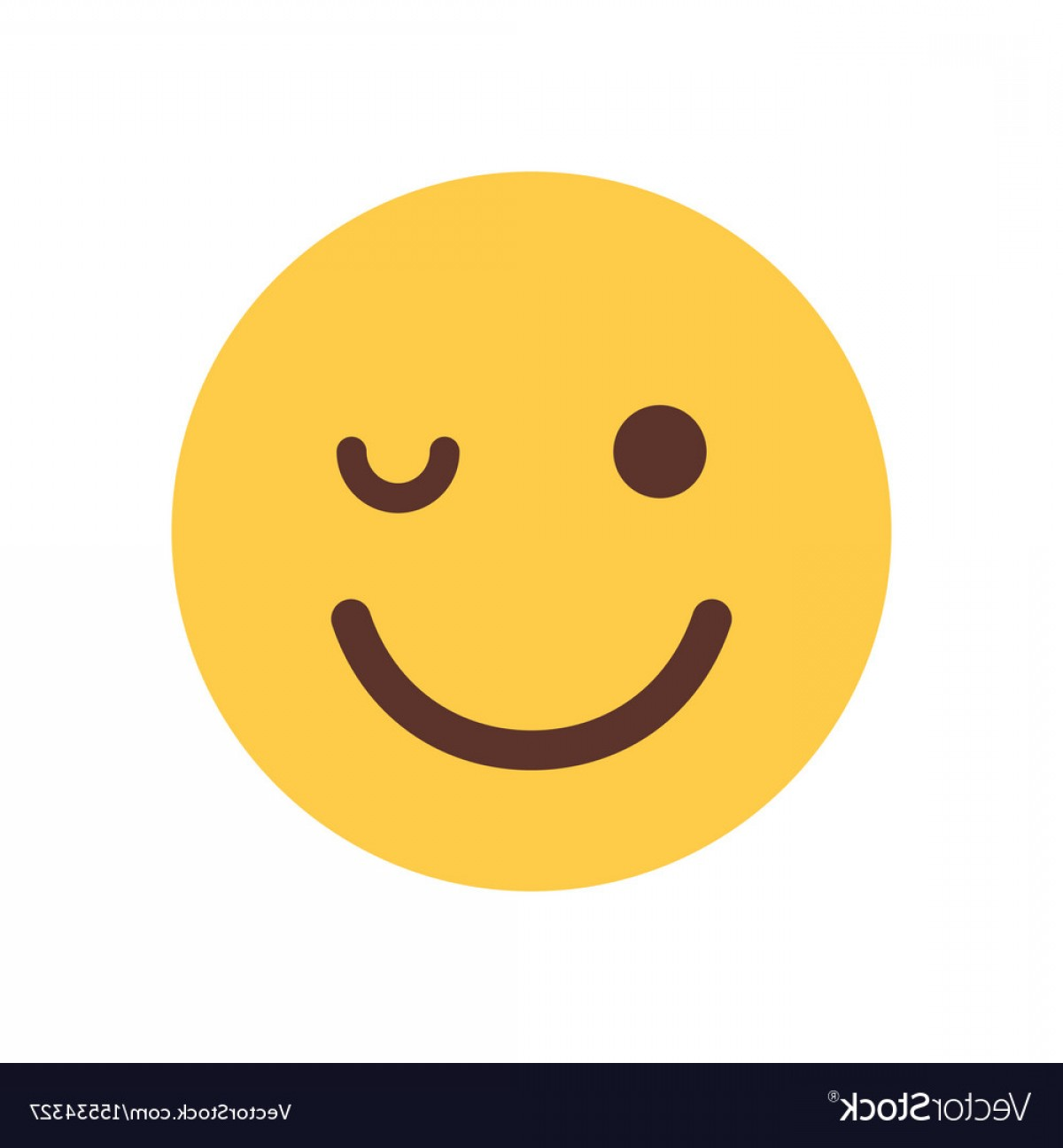 Smiley-Face Winking Vector: Yellow Smiling Cartoon Face Winking Emoji People Vector