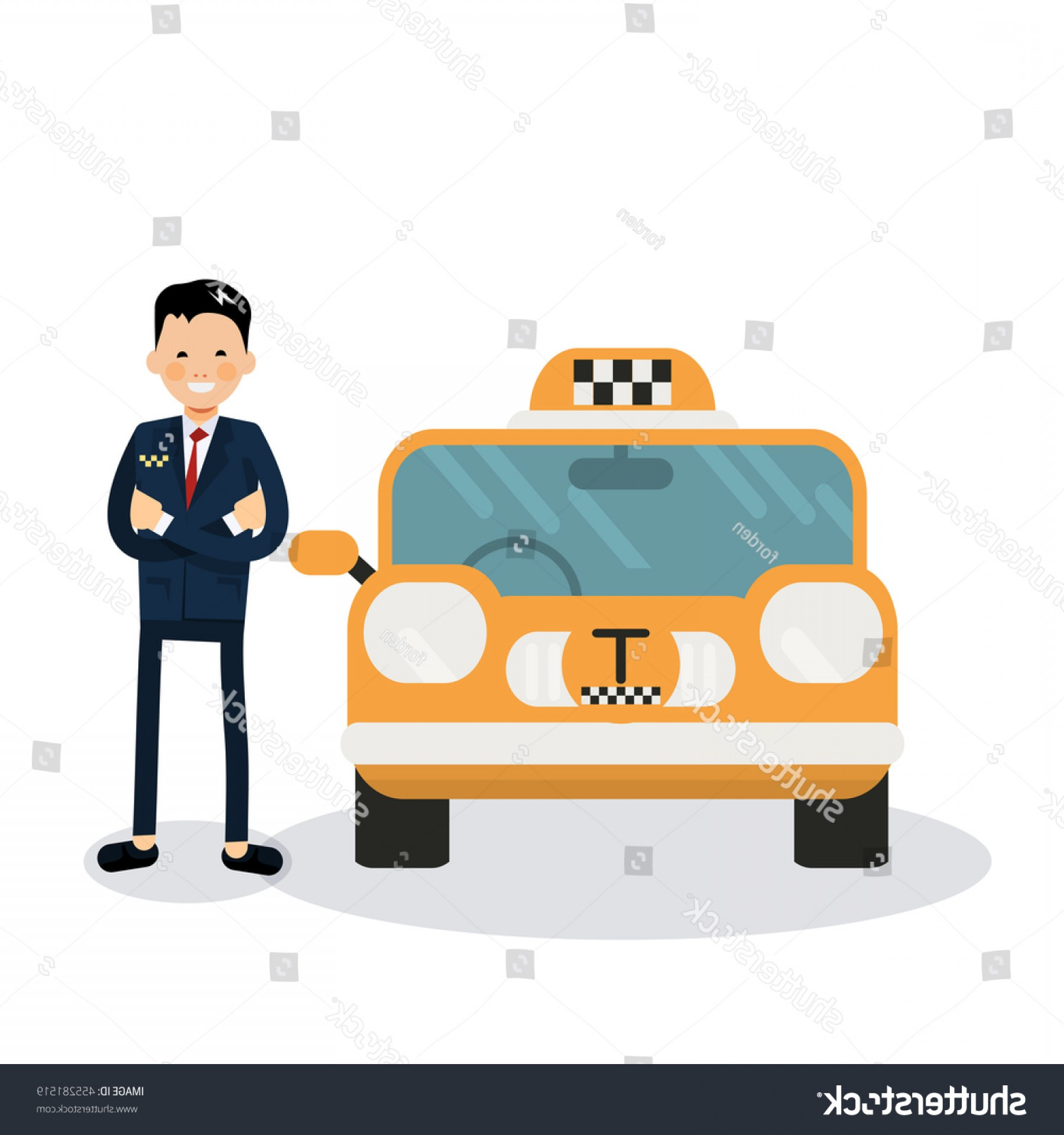 Vector Taxi Cab Driver: Yellow Taxi Car Driver Vector Icon