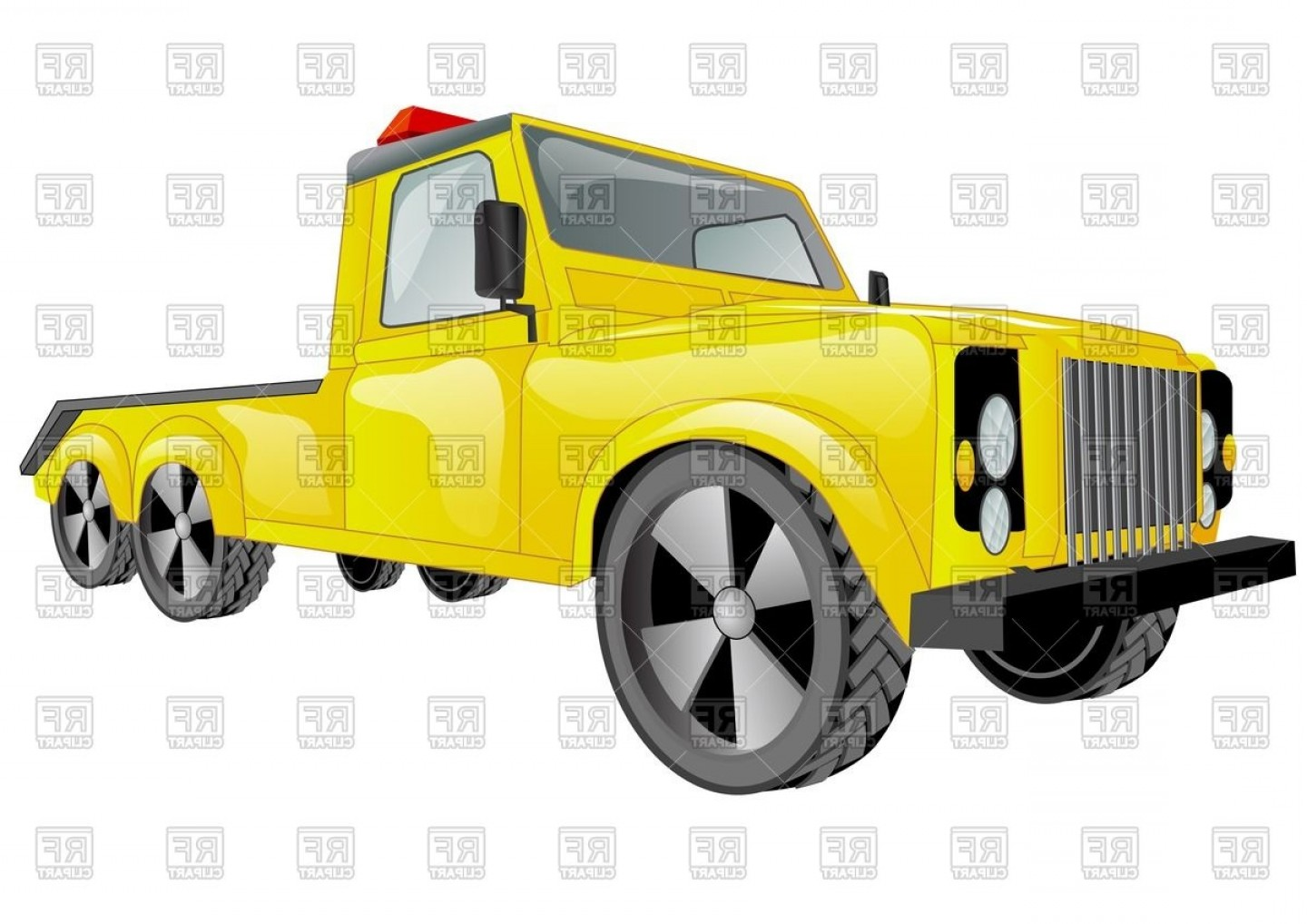 Towing Vector Clip Art: Yellow Tow Truck Car Vector Clipart