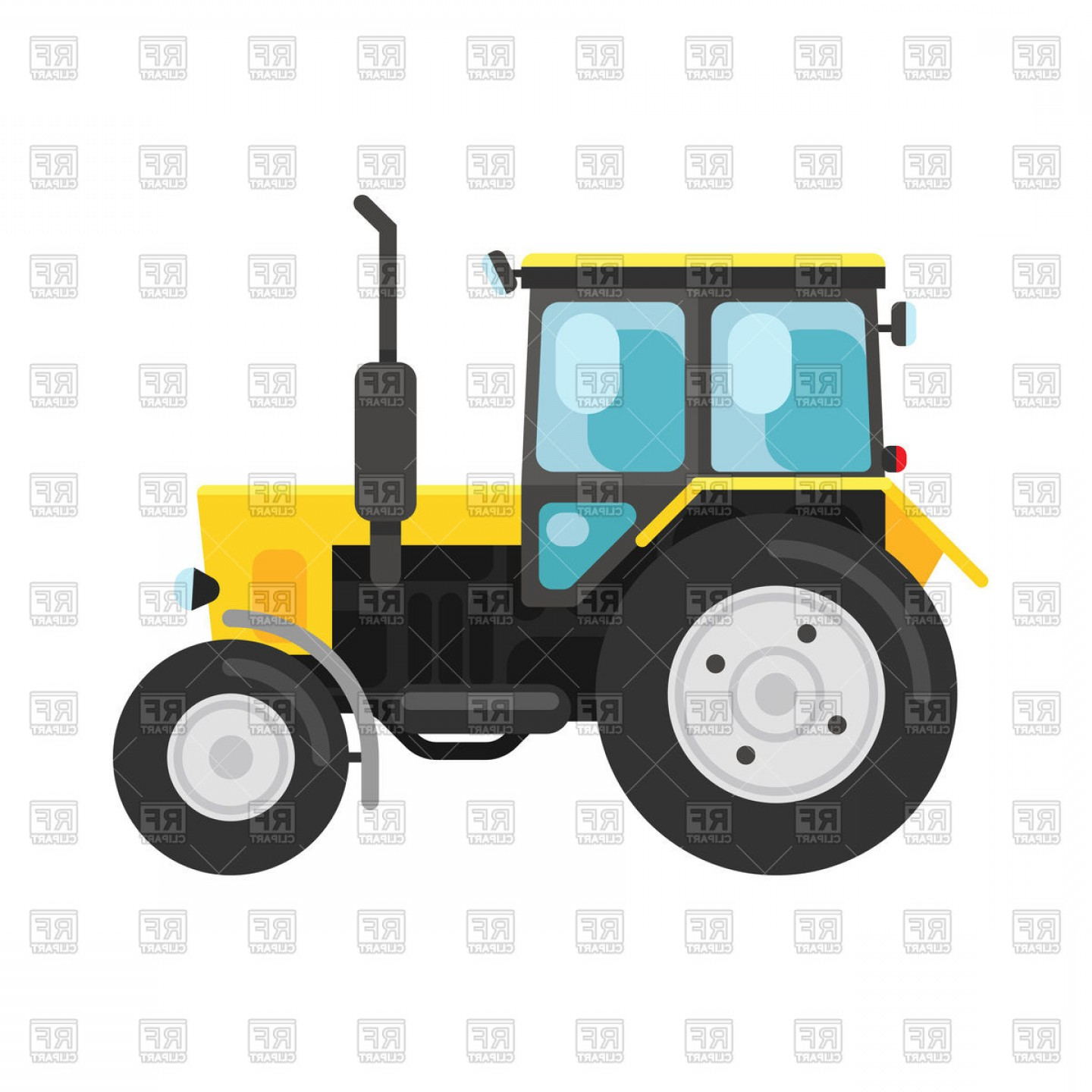 Free Tractor Vector: Yellow Tractor Side View Isolated On White Vector Clipart