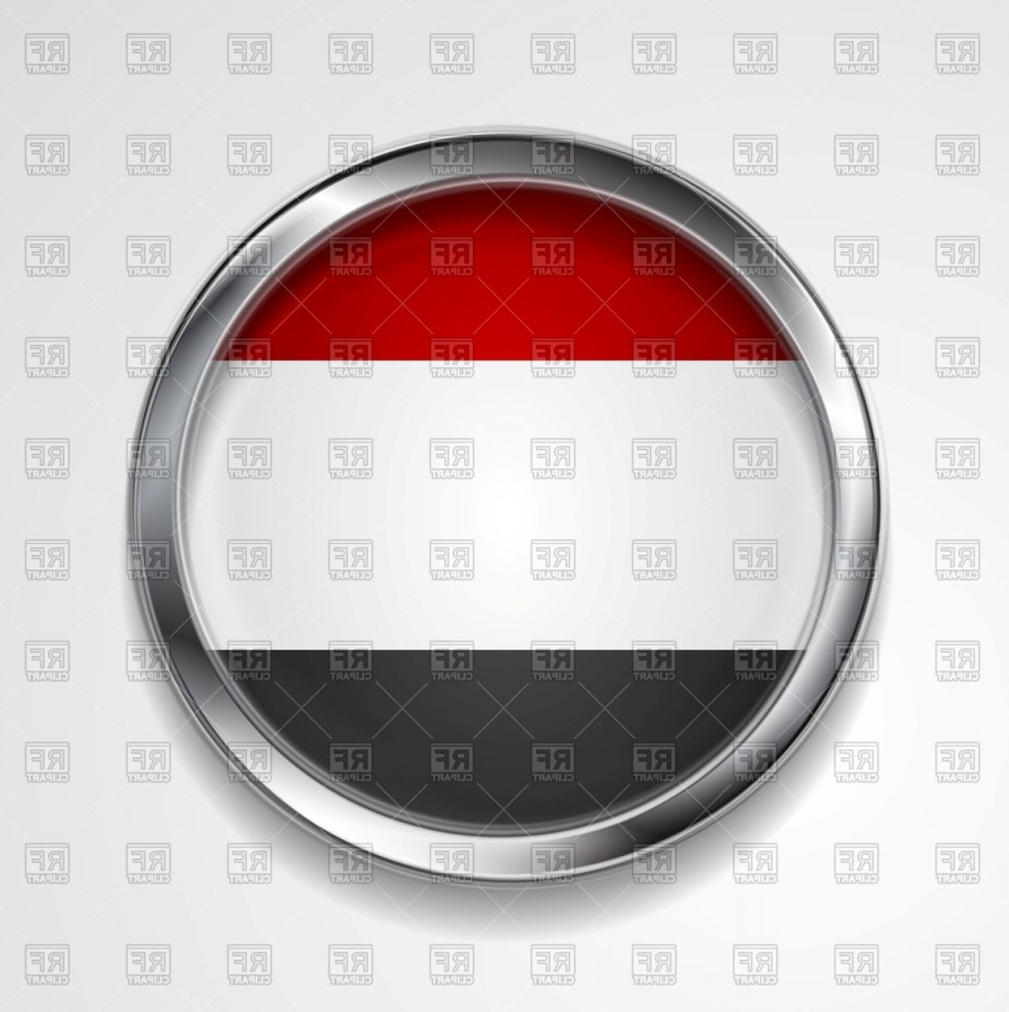 Metal Button Vector: Yemen Flag Metal Button Vector Clipart
