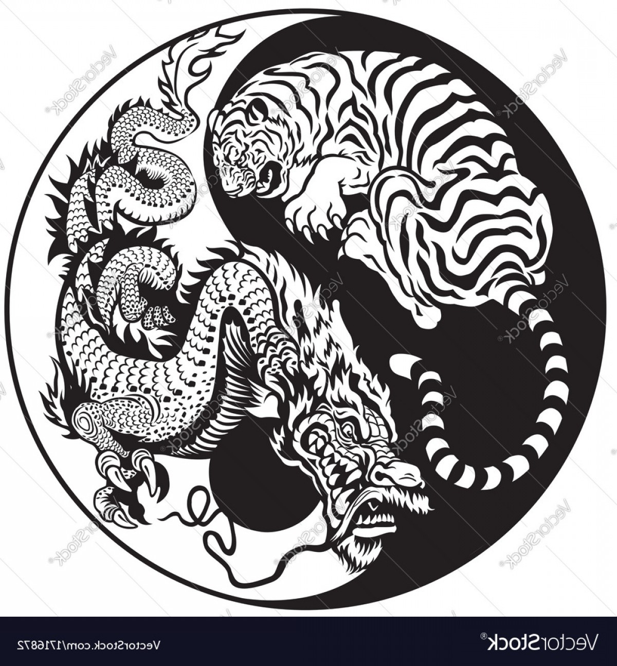 New Balance Vector: Yin Yang Dragon And Tiger Black White Vector
