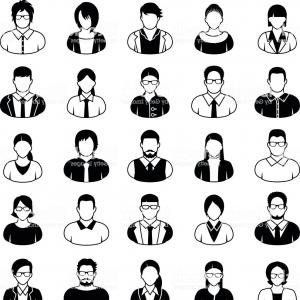 Free Vector Business People Icon: Young Business People Icons Set In Black And White Gm