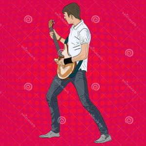 Guitar Realistic Vector Illustrations: Young Caucasian Rock Guitarist Playing Electric Guitar Creative Man Musician Realistic Vector Illustration Image