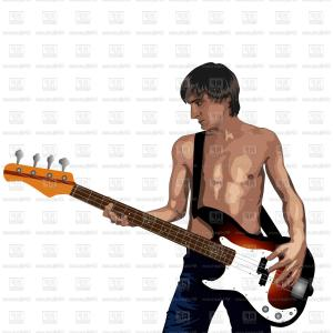 Bass Guitar Vector: Young Man With Bass Guitar Vector Clipart