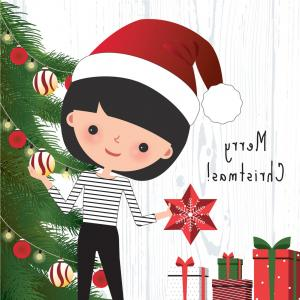 Christmas Woman Vector: Merry Christmas Woman Santa Claus Costume Greeting Card Beautiful Cartoon Character Holding Scroll Greetings One Hand Image