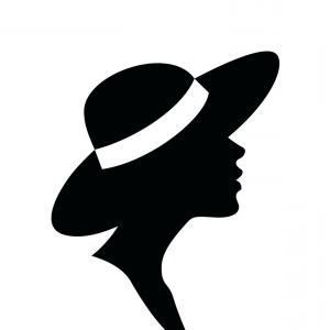 Young Woman Silhouette Vector: Photostock Vector Young Woman Silhouette In Standing Position Demonstrate Something