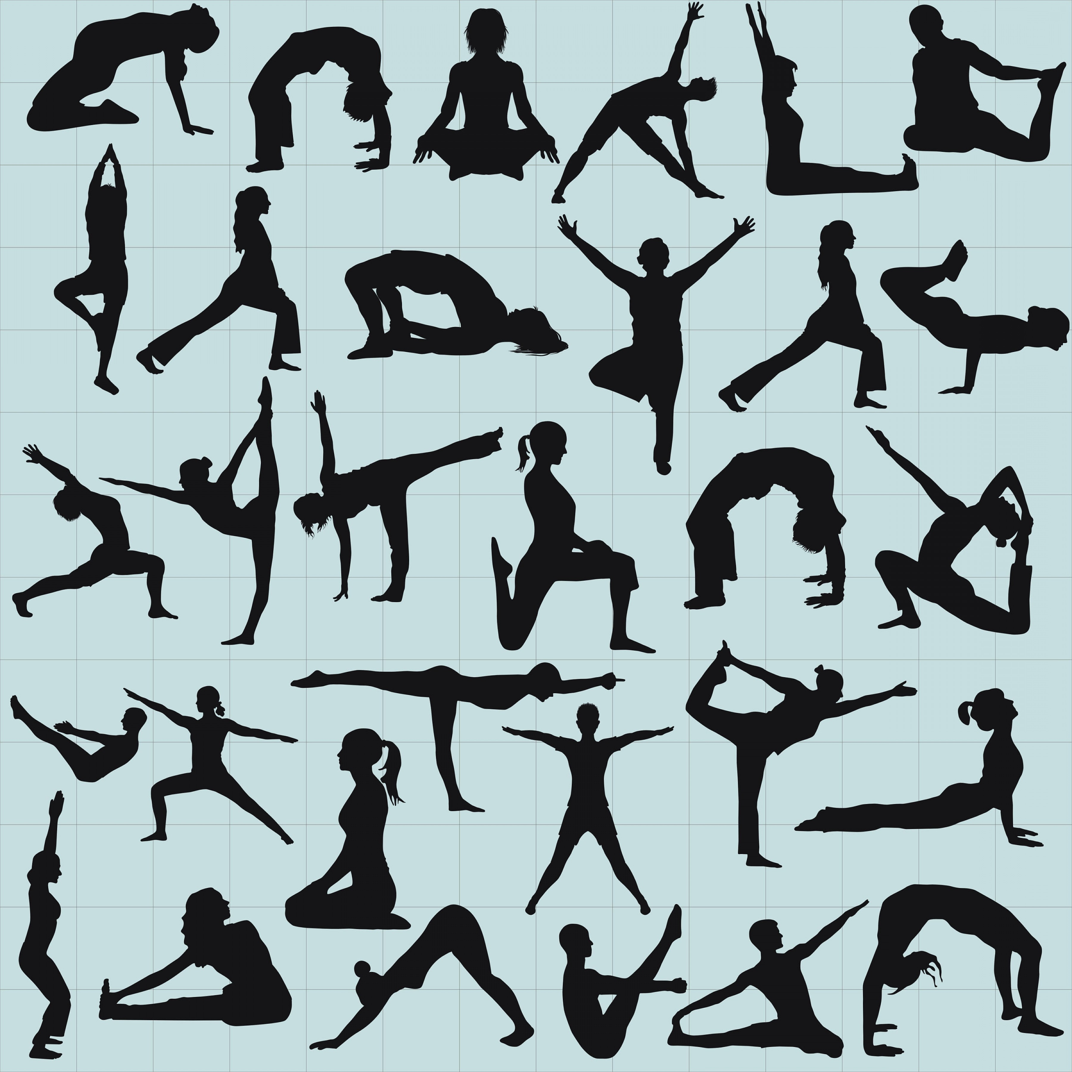 Yoga Vector Silhouette SVG: Yoga Clipart Yoga Poses Silhouette Yoga