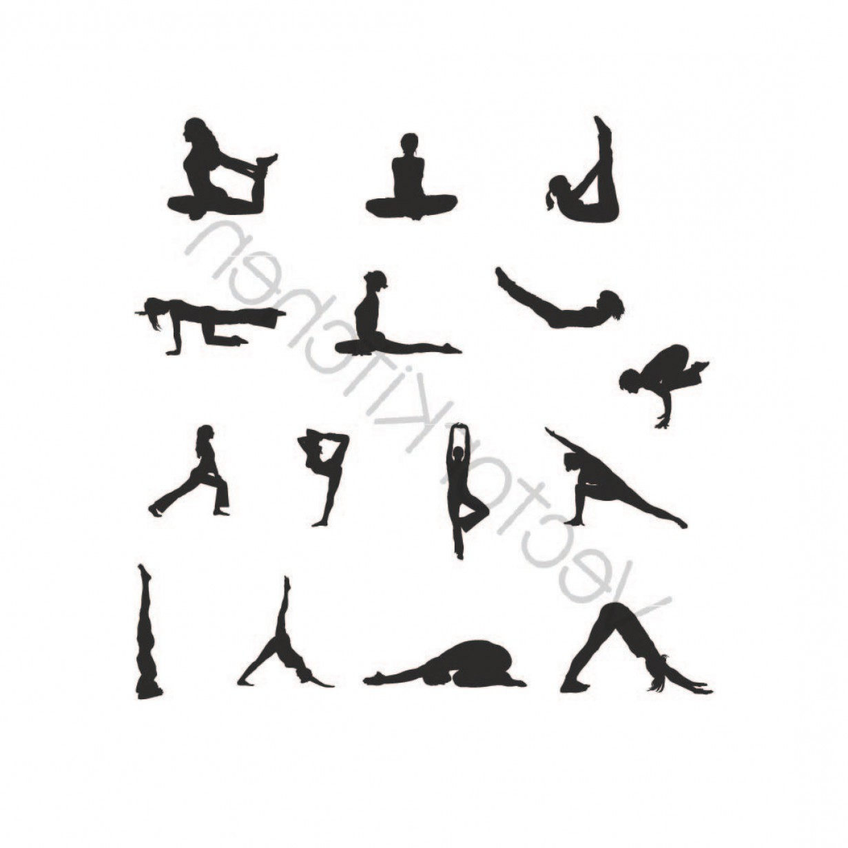 Yoga Vector Silhouette SVG: Yoga Design Set Cutting Template Svg Eps