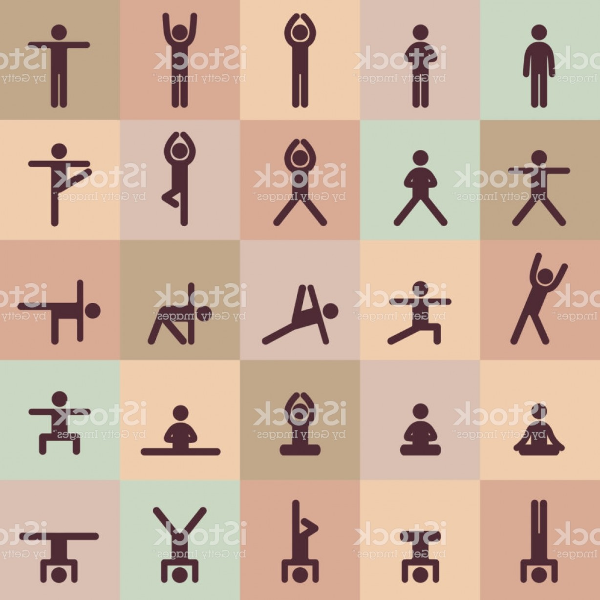 Vector Stick Figure Yoga Positions: Yoga Poses Asanas Icons Set Vector Illustrations For Logo Yoga Branding Yoga People Gm