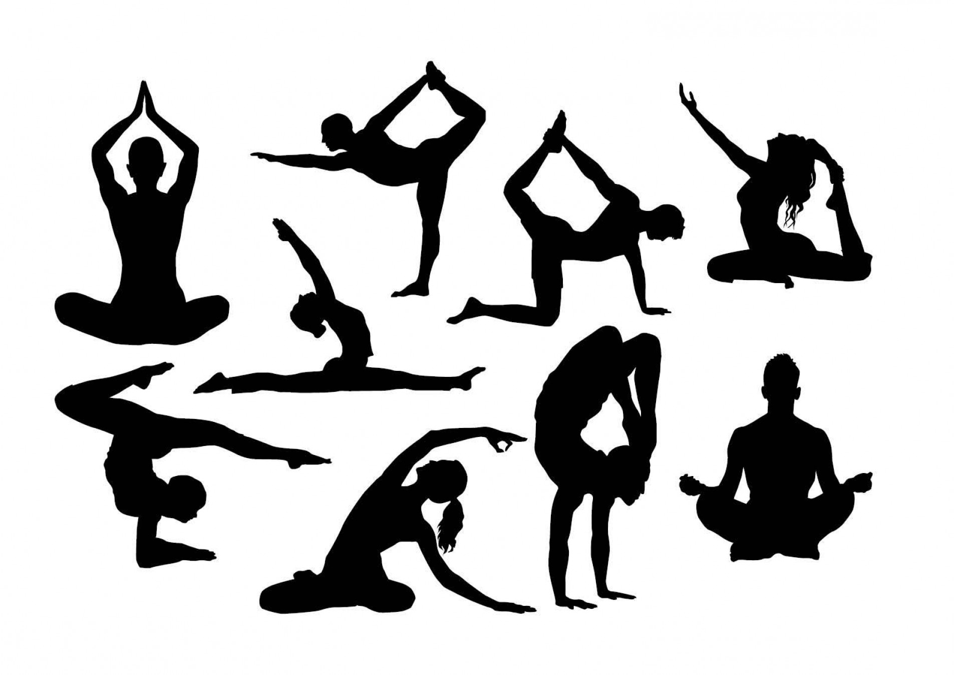 Yoga Vector Silhouette SVG: Yoga Silhouette Svg Cut File Yoga Png