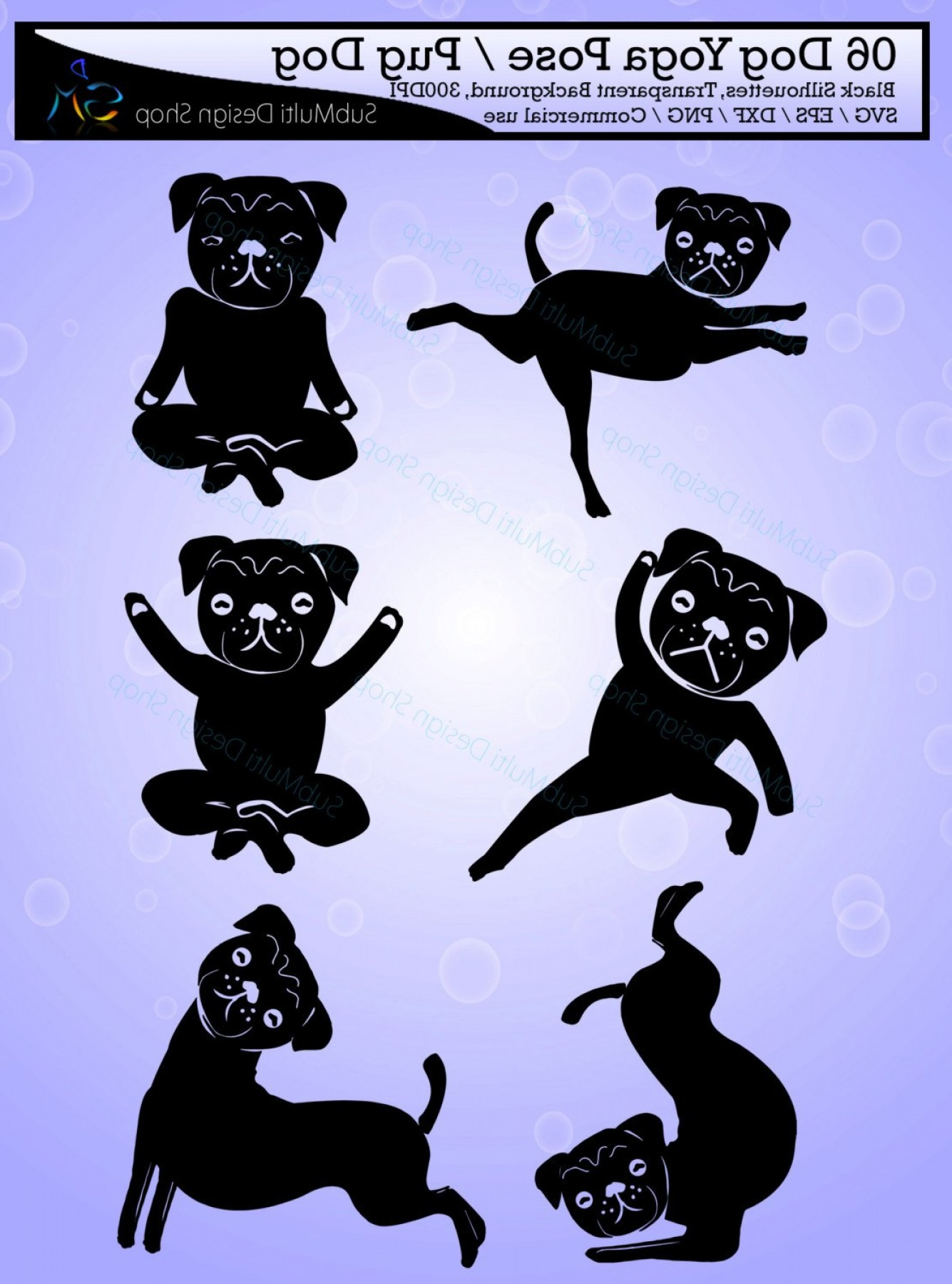 Yoga Vector Silhouette SVG: Yoga Silhouette Svg Dog Yoga Pose Pug