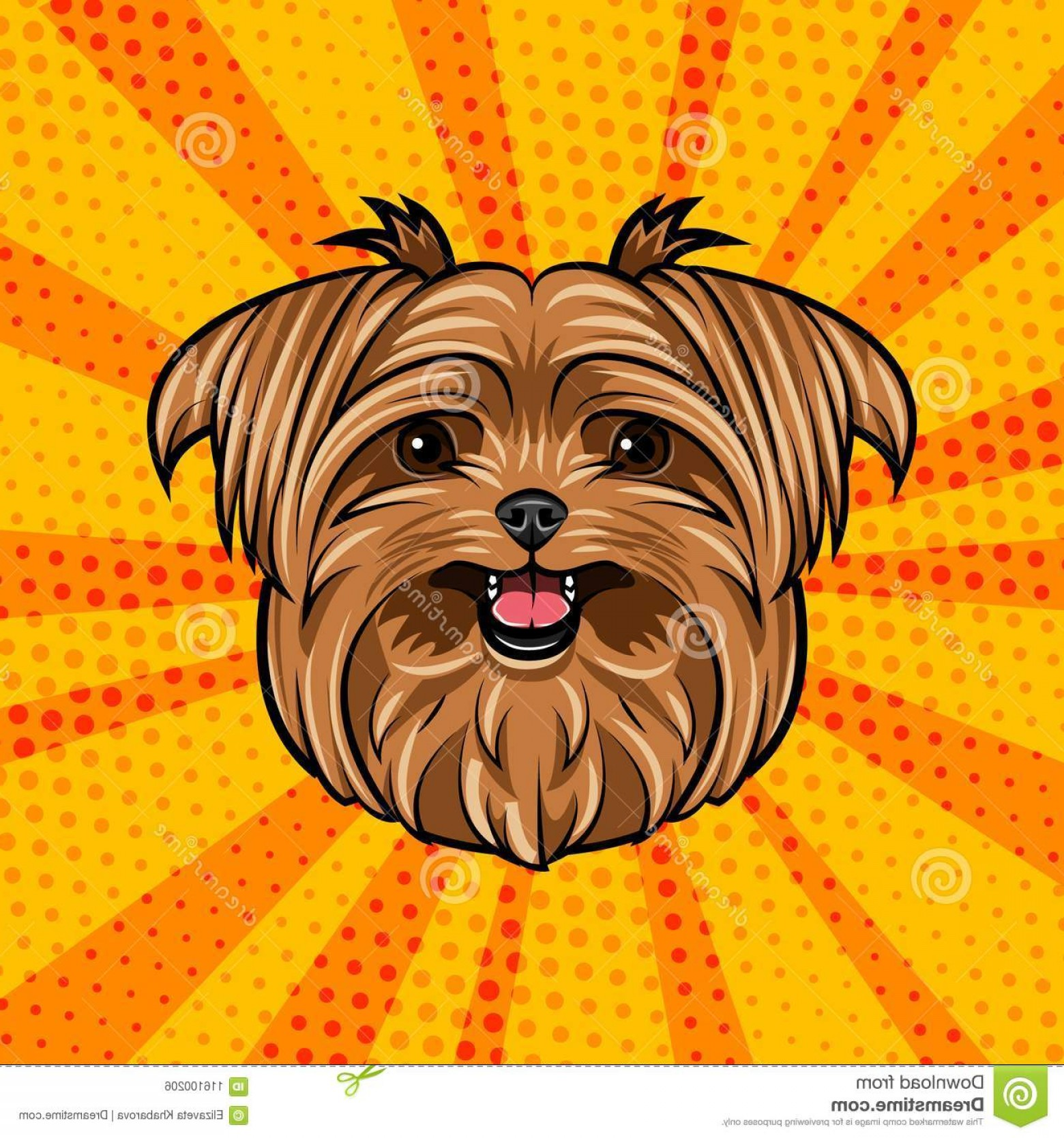 Cute Yorkie Dog Vector: Yorkshire Terrier Dog Head Cute Domestic Portrait Dogs Face Muzzle Colorful Background Vector Illustration Image