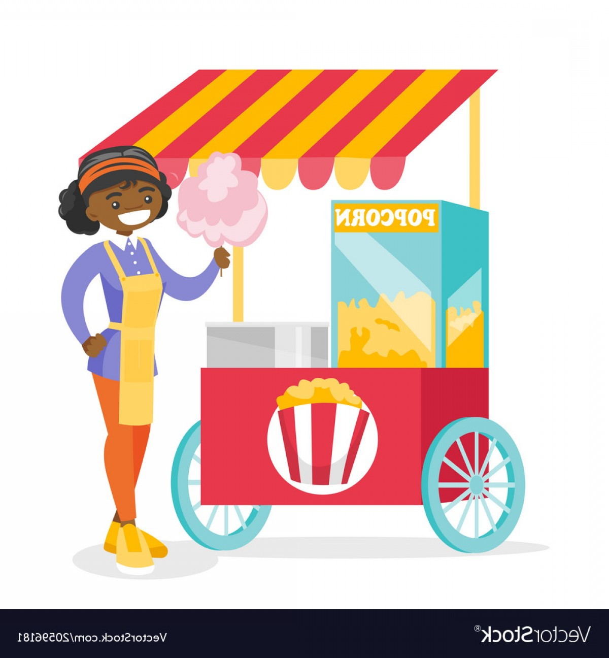Candy Seller Vector: Young African Street Seller Selling Cotton Candy Vector