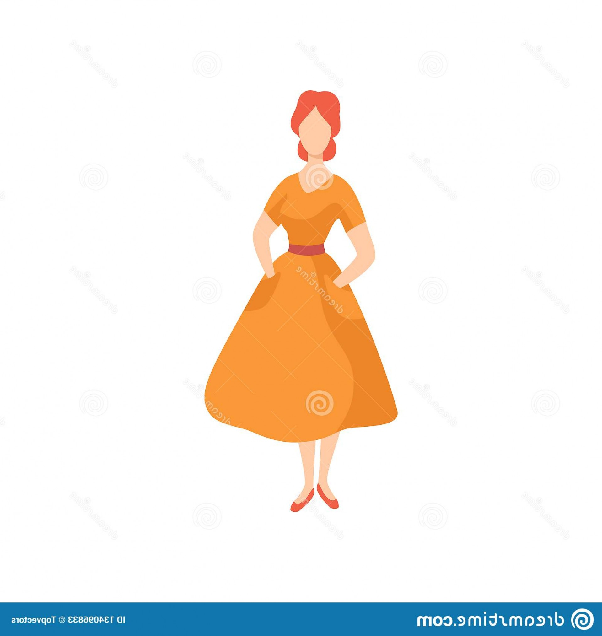 White Retro Vector People: Young Beautiful Woman Wearing Vintage Dress Retro Fashion People S Vector Illustration White Background Young Beautiful Image