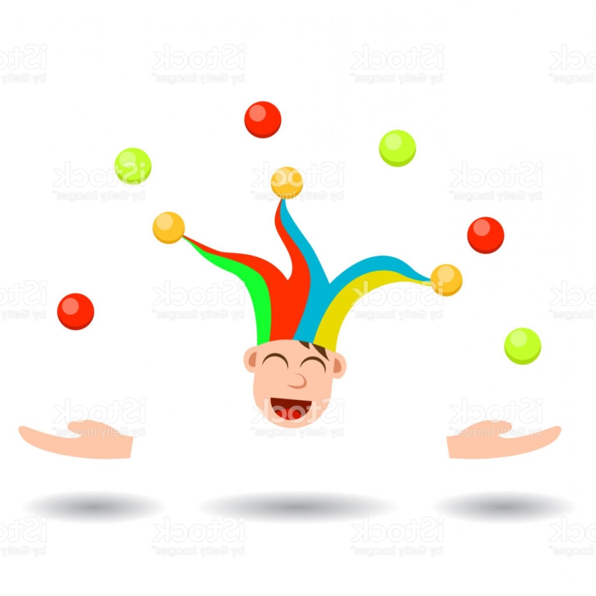 Joker Smile Vector Art: Young Boy Joker Head Juggling Gm
