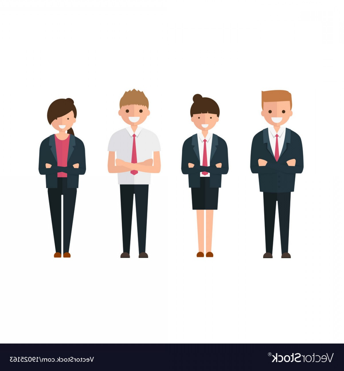 Vector People Man: Young Business People Man And Woman In Cartoon Vector