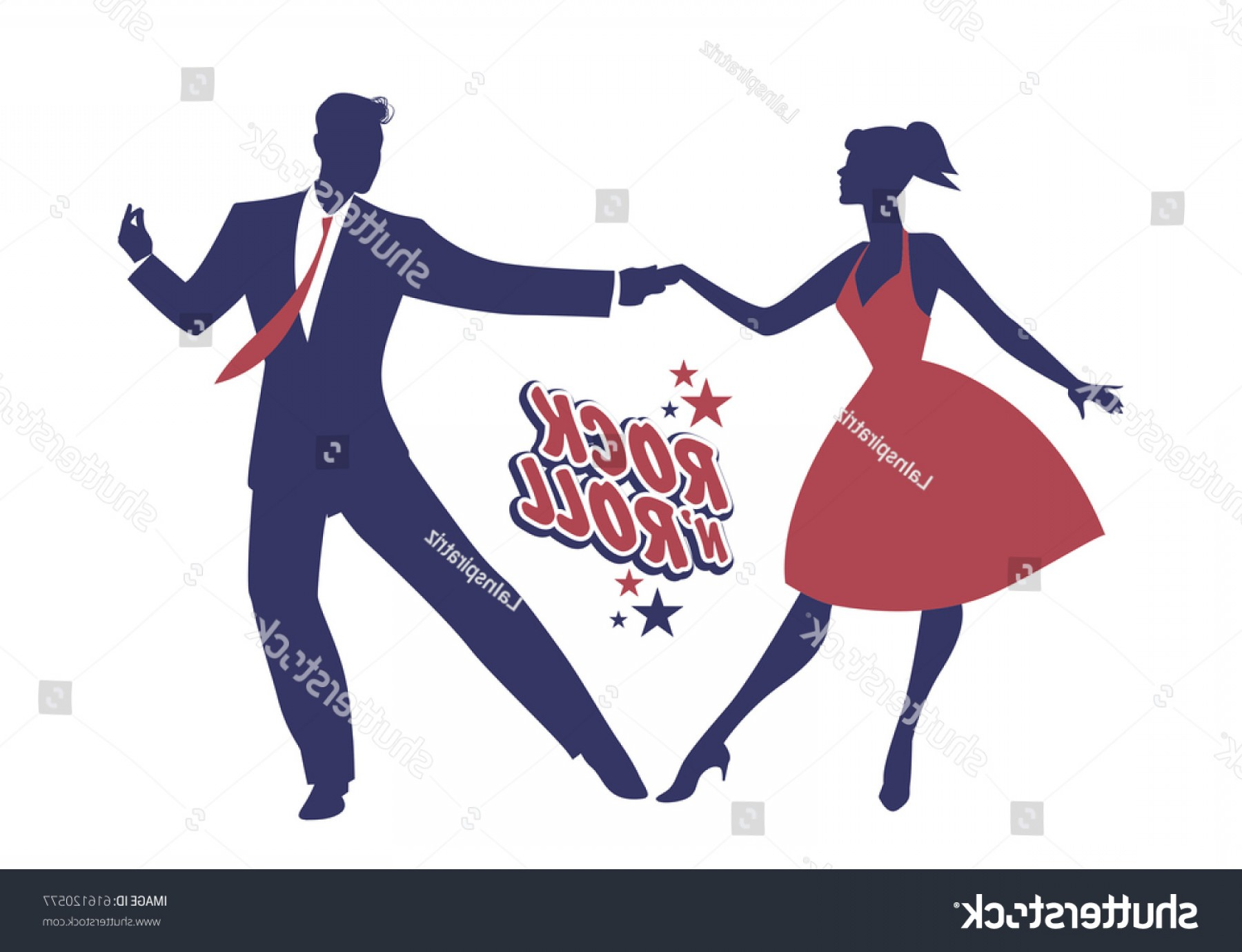 Vector Swing Dancers: Young Couple Wearing S Clothes Dancing