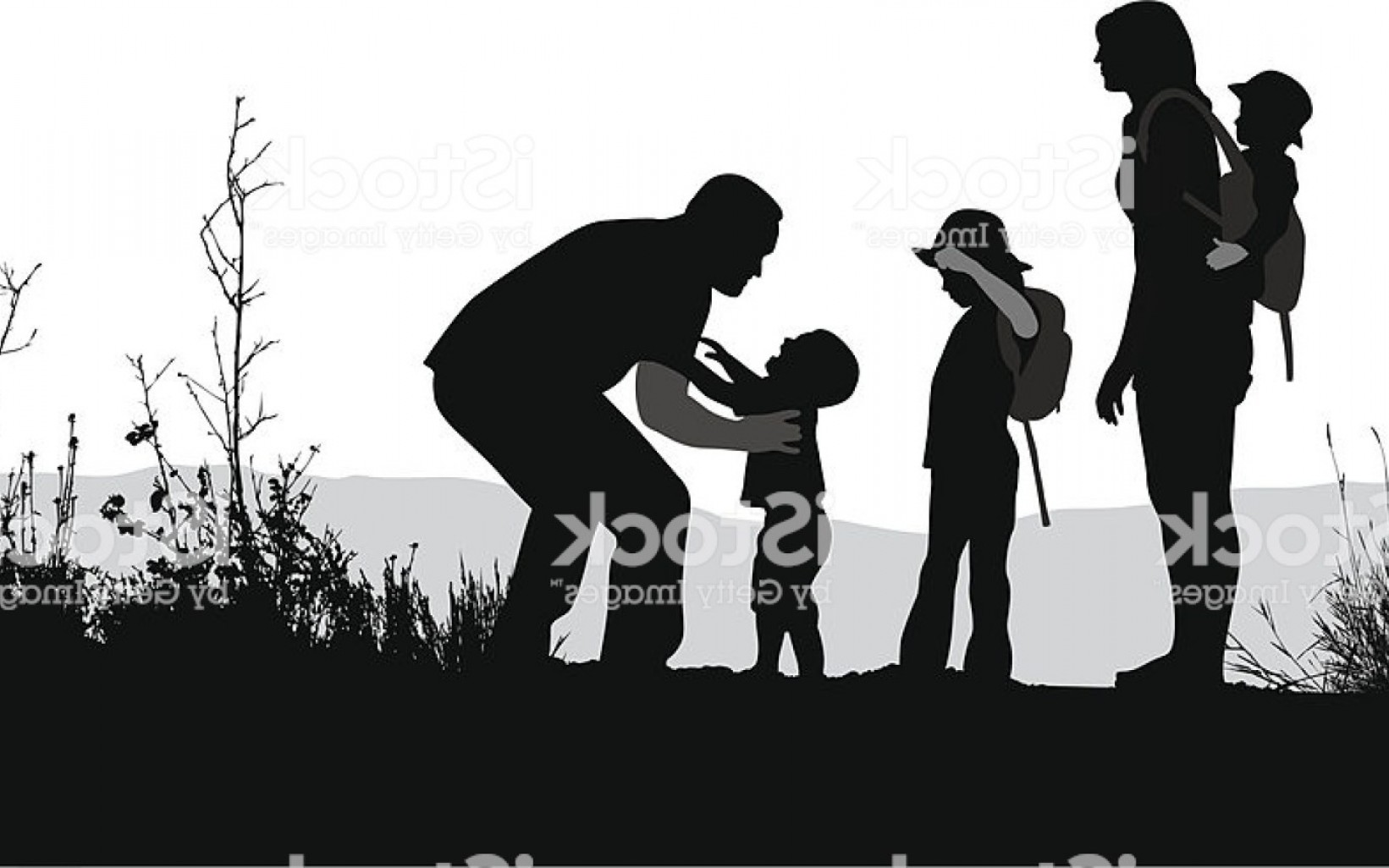 Family Silhouette Vector Art: Young Family Vector Silhouette Stock Vector Art More Images Of Wwazgypvhlmrghw