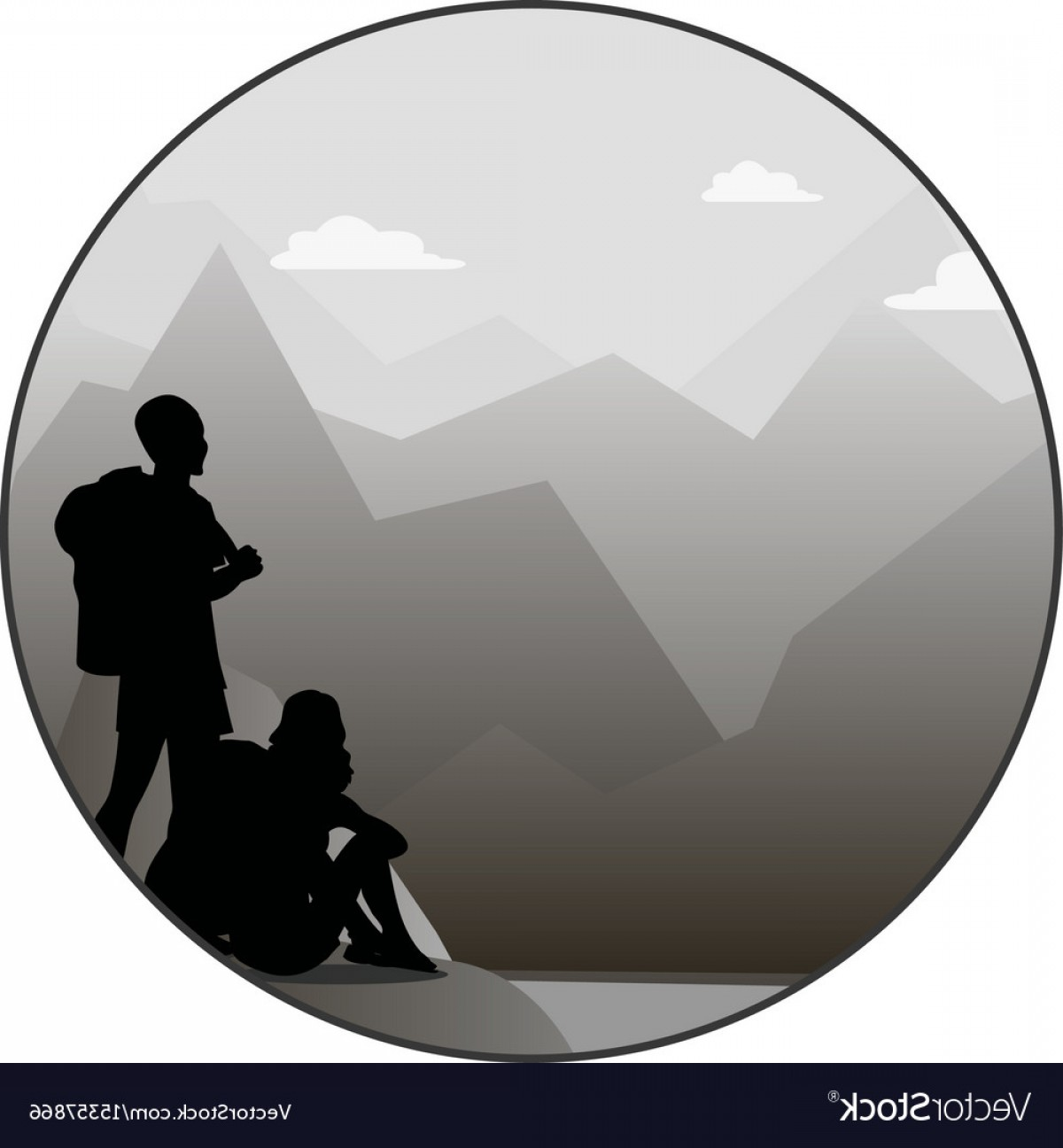 Mountain Trail Vector: Young Man And Woman Walking On A Mountain Trail Vector
