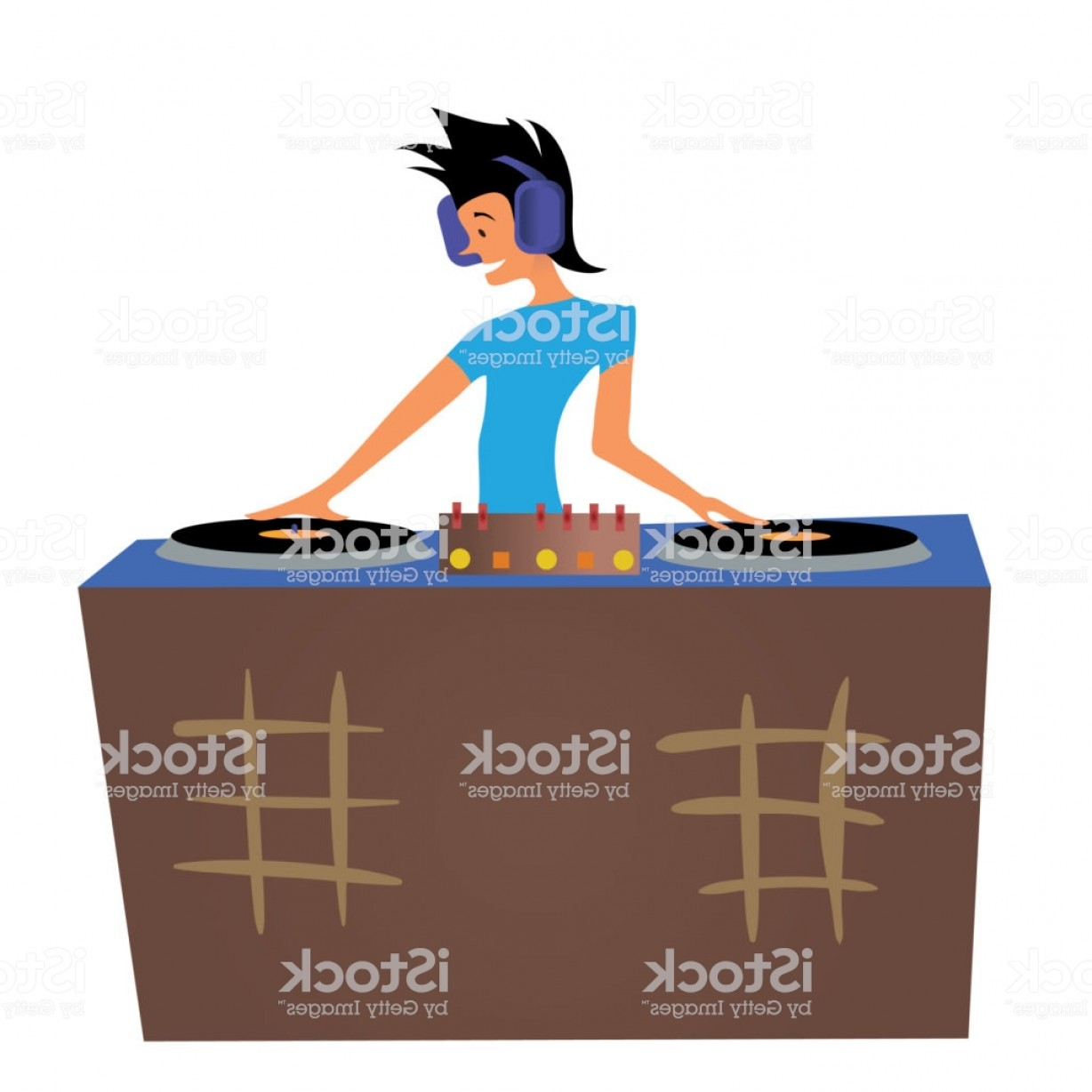 Vector DjDecks: Young Man Dj Playing Music Behind The Decks Vector Illustration Isolated On White Gm
