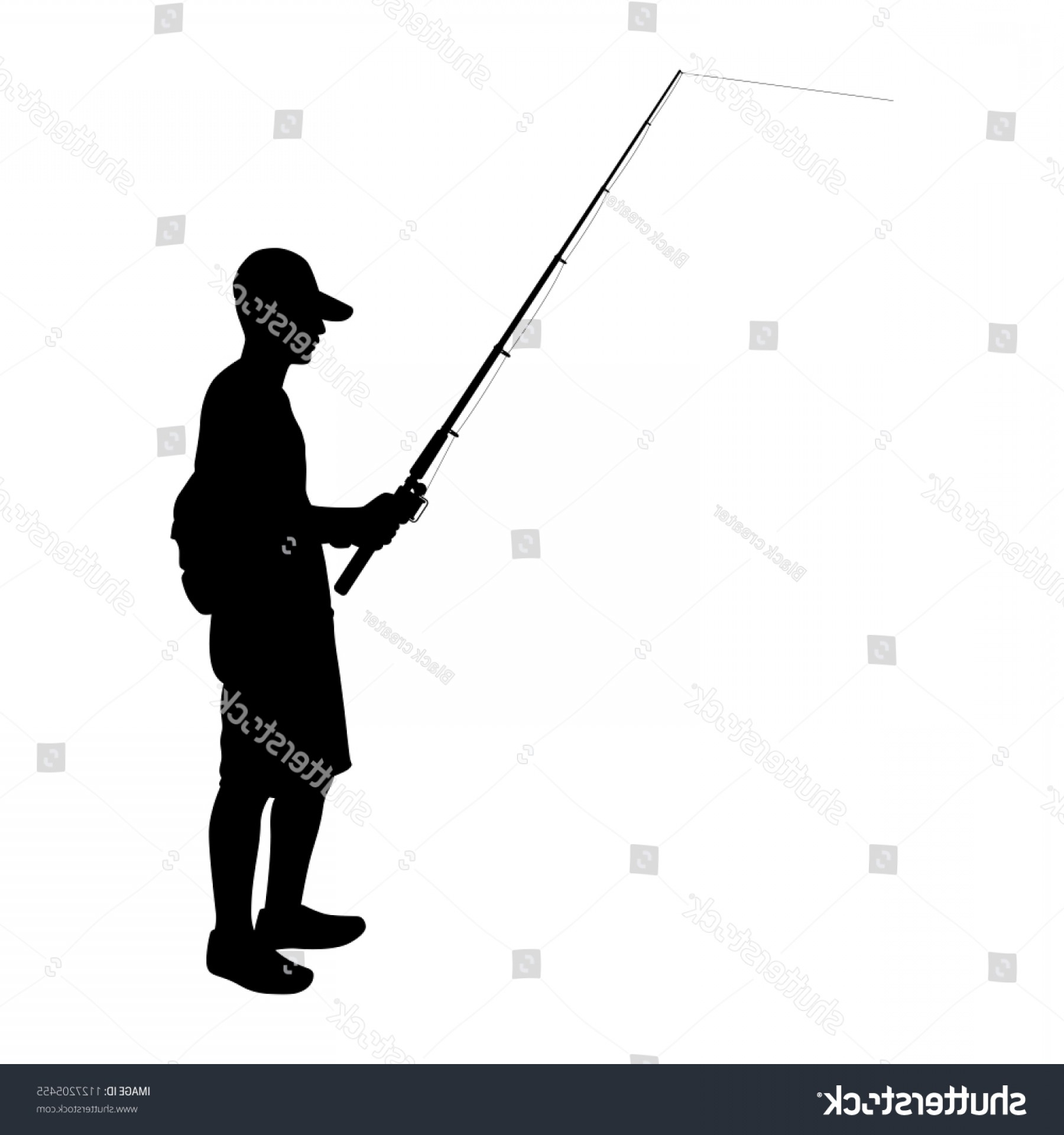 Fishing Pole Silhouette Vector: Young Man Fishing Pole Hand Silhouette