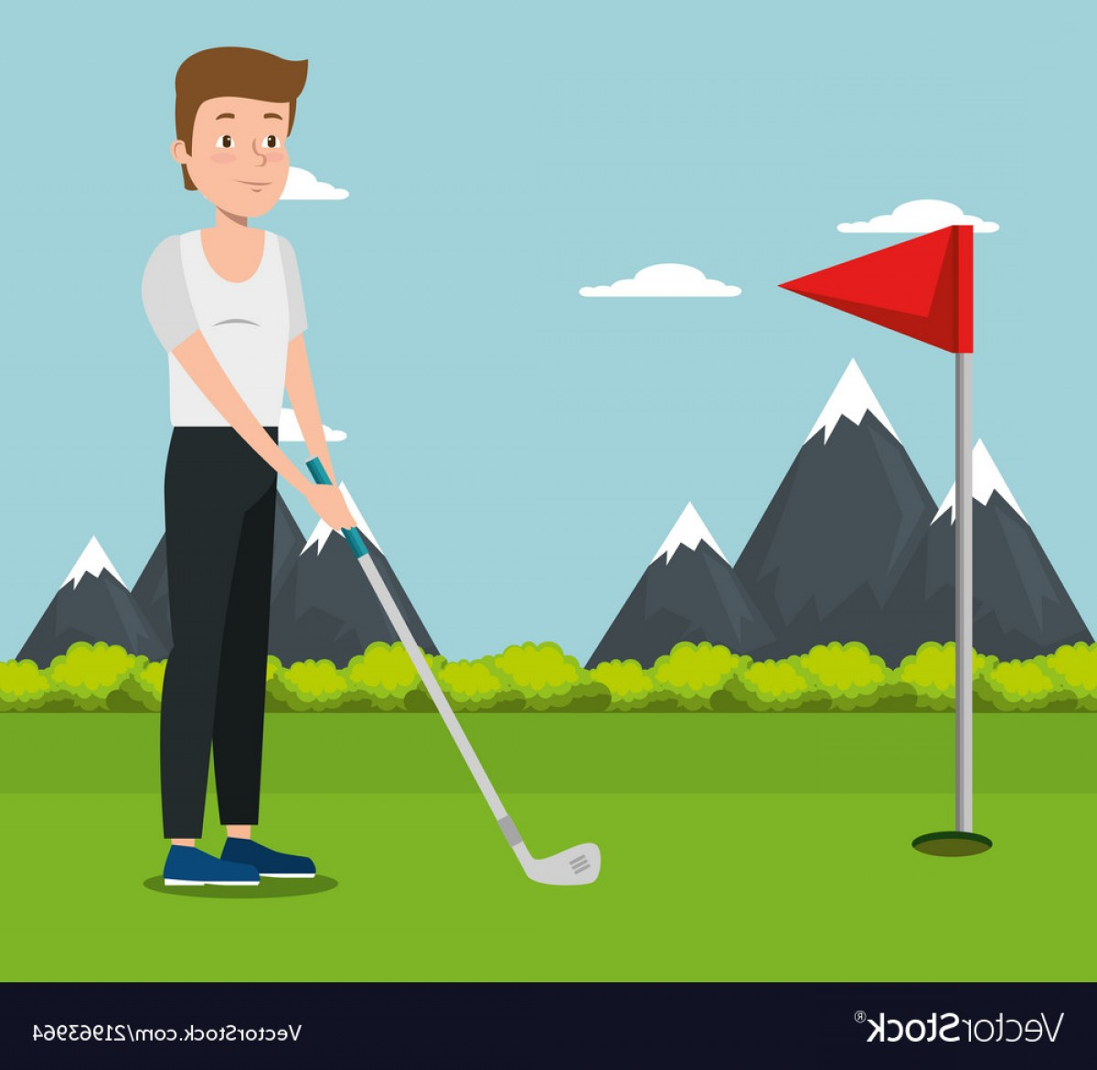 Vector Golf Simulator: Young Man Practicing Golf Vector