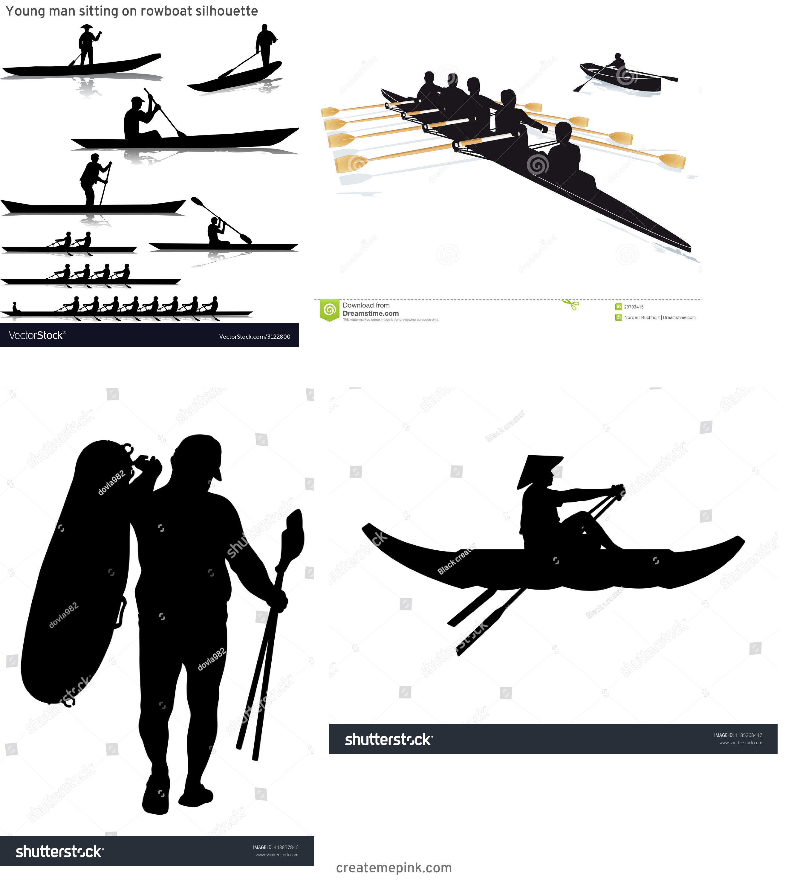 Row Boat Vector Sillohettes: Young Man Sitting On Rowboat Silhouette