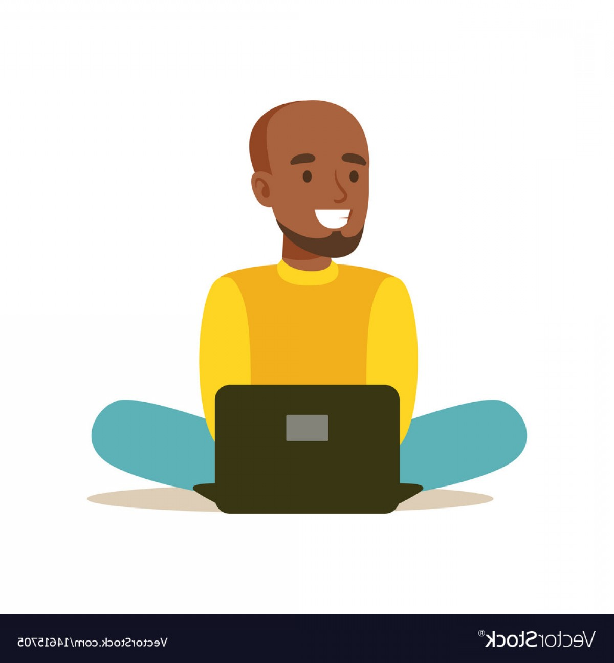 Vector Man Sitting On Floor: Young Man Sitting On The Floor And Using Laptop Vector