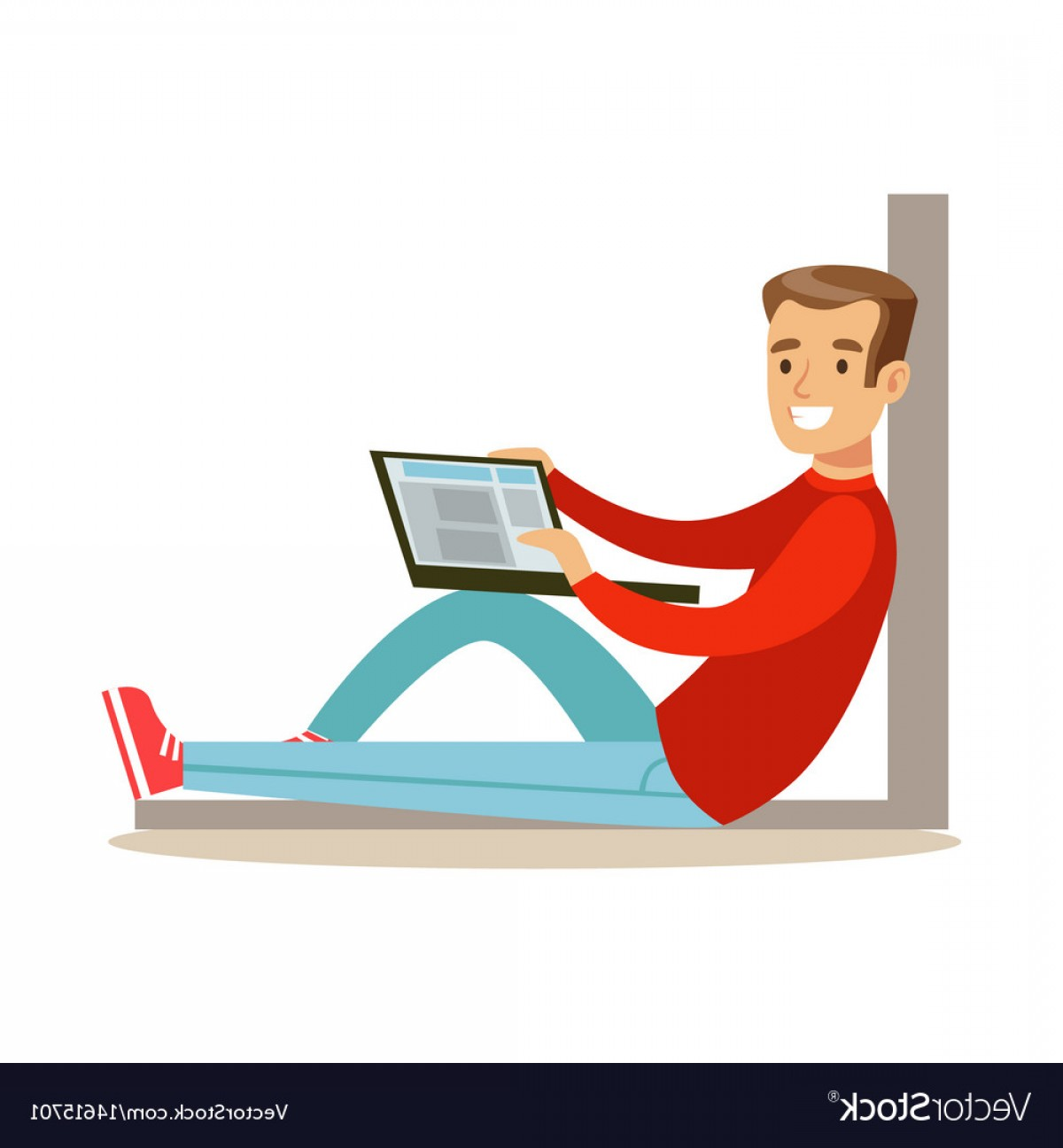 Vector Man Sitting On Floor: Young Man Sitting On The Floor With His Laptop Vector