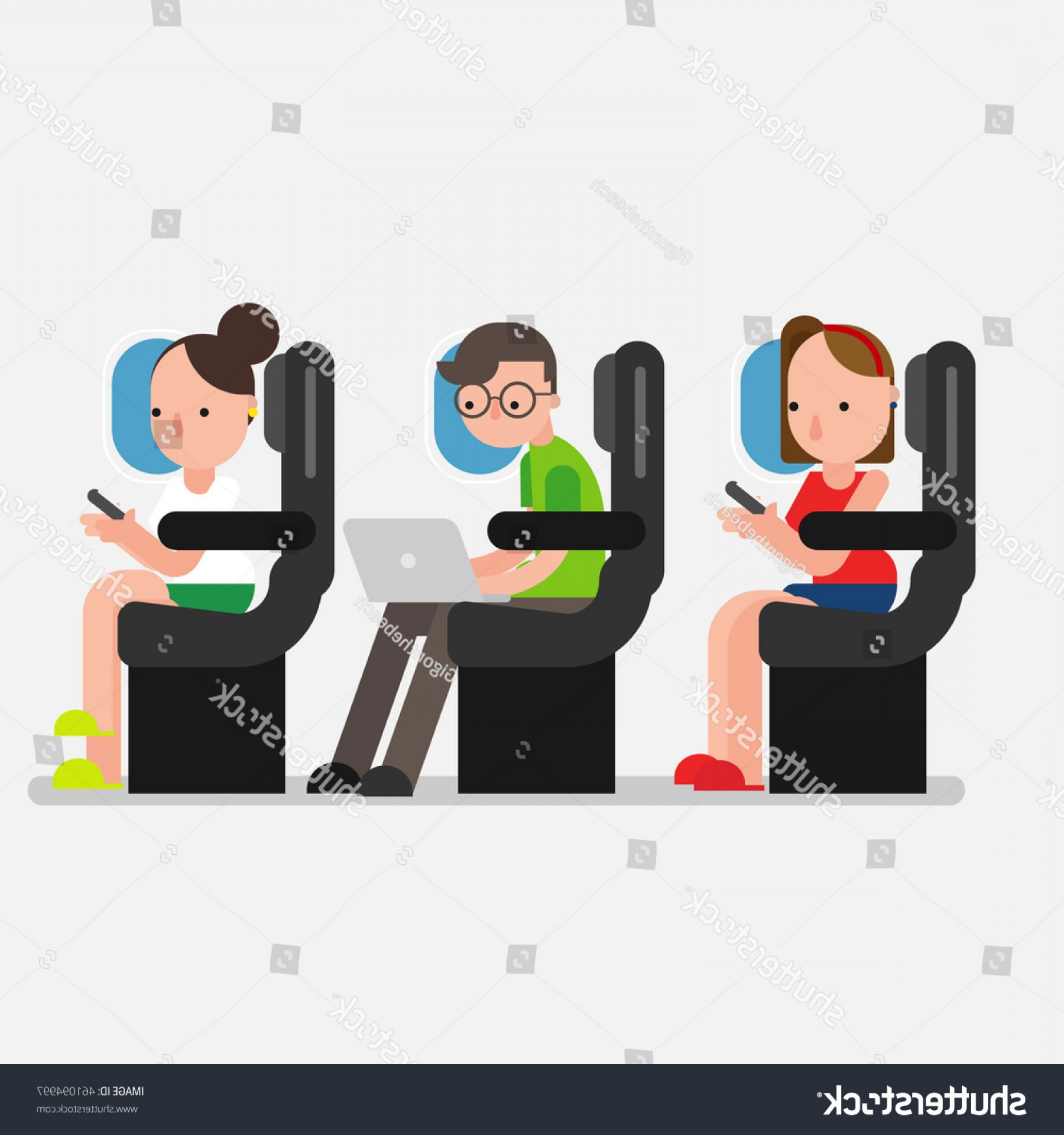 Vector Man Working In Cabin: Young Man Using Laptop Woman Smartphone